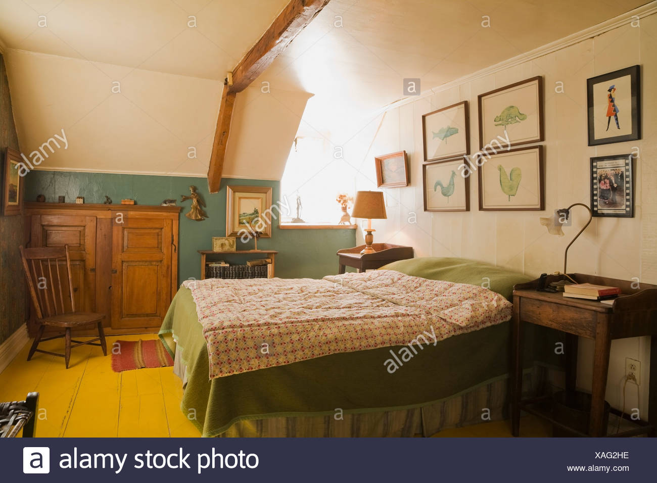 Canada Bed Antiques In Bedroom Of 19th Century Home Quebec Canada Stock