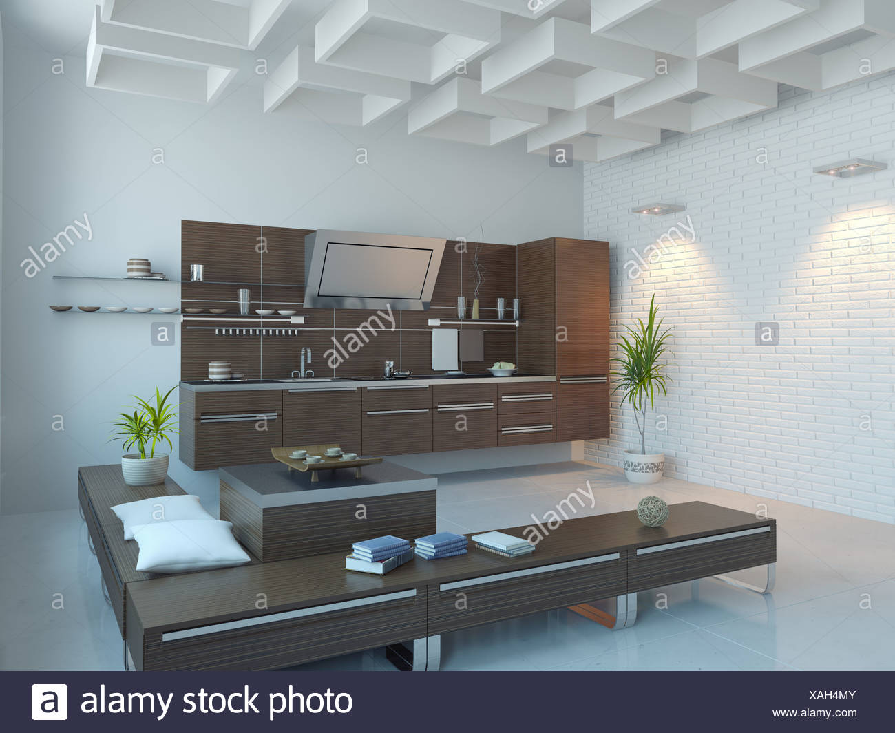 3d Interieur Designer The Modern Kitchen Interior Design 3d Rendering Stock Photo