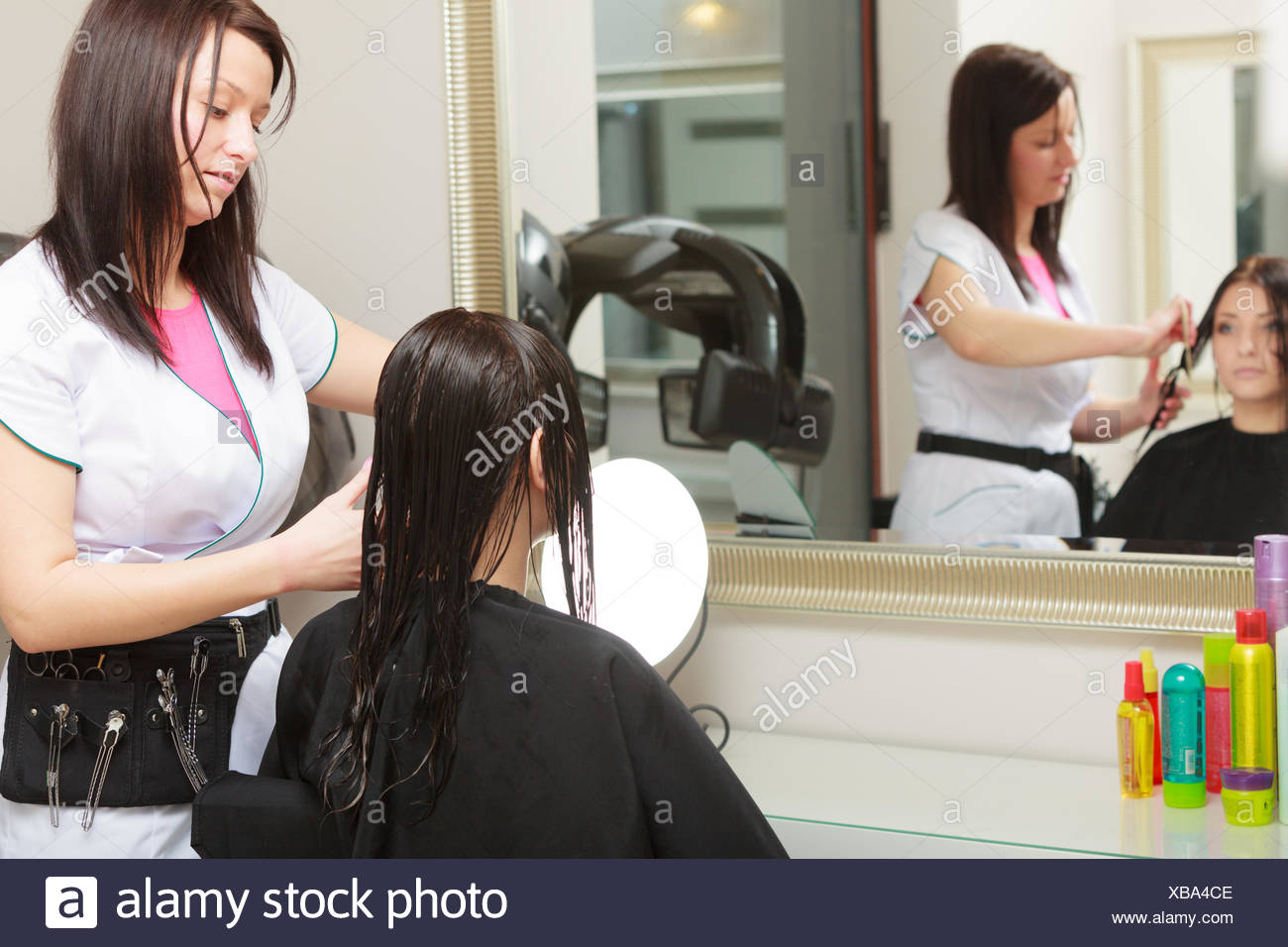 Salon Ce Hairstylist Combing Hair Woman Client In Hairdressing Beauty Salon