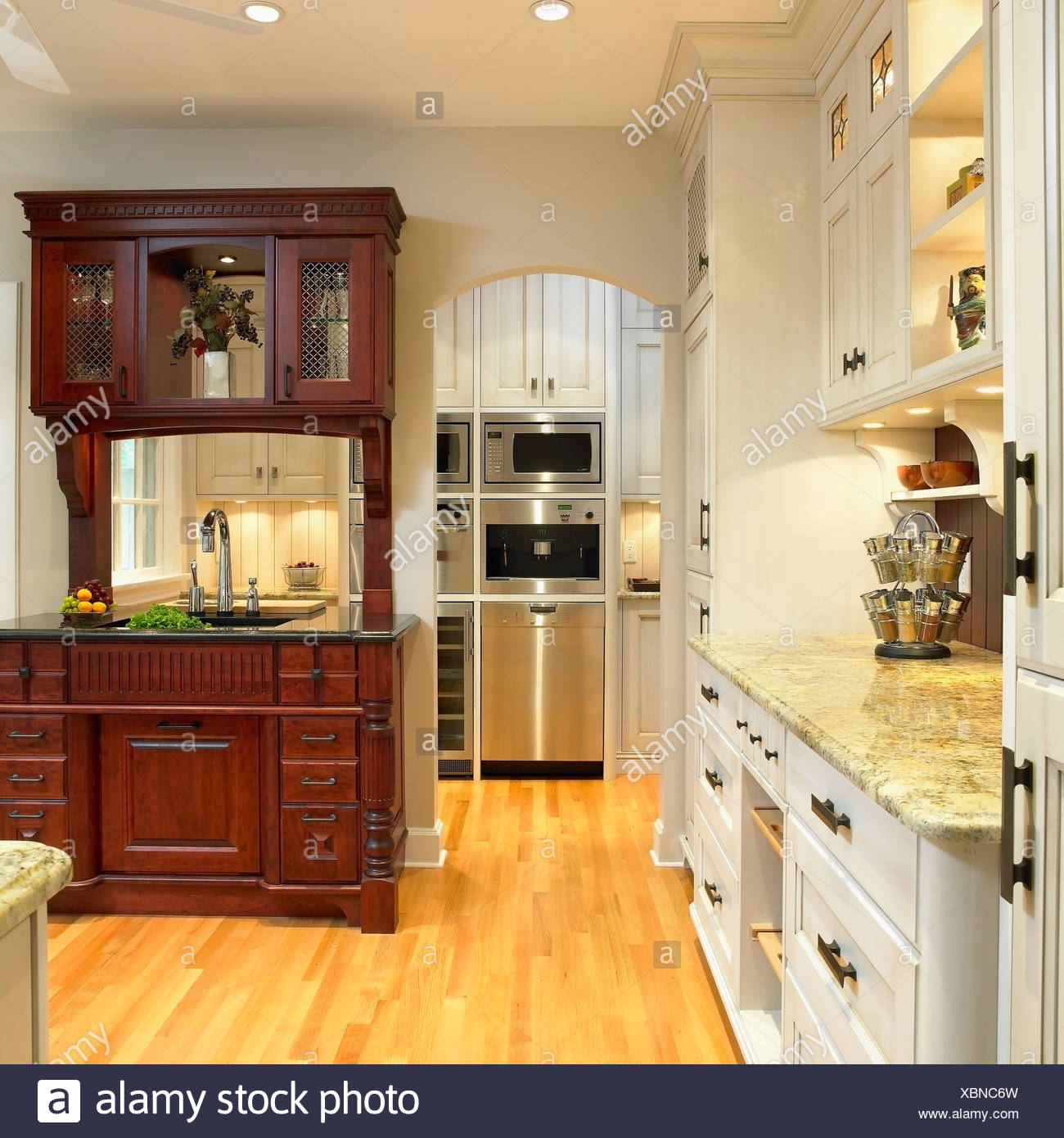 Kitchen Cabinets Victoria Traditional Kitchen With Cream Cabinets And Built In Dark Wood