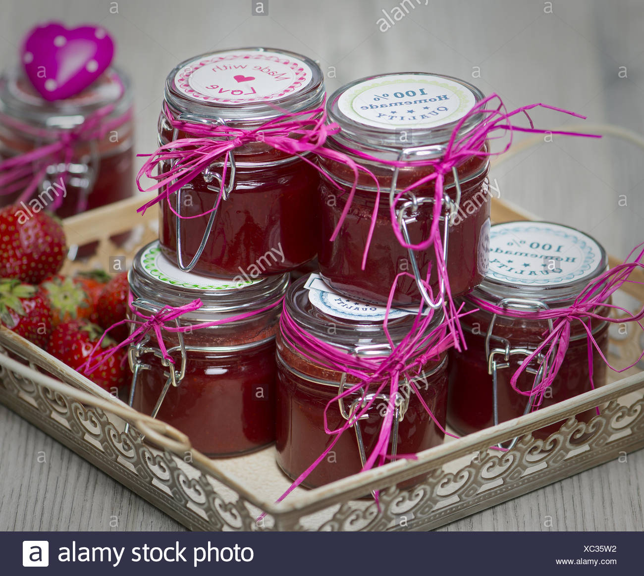 Marmeladengläser Dekorieren Homemade Strawberry Jam In Decorated Glasses Stock Photo
