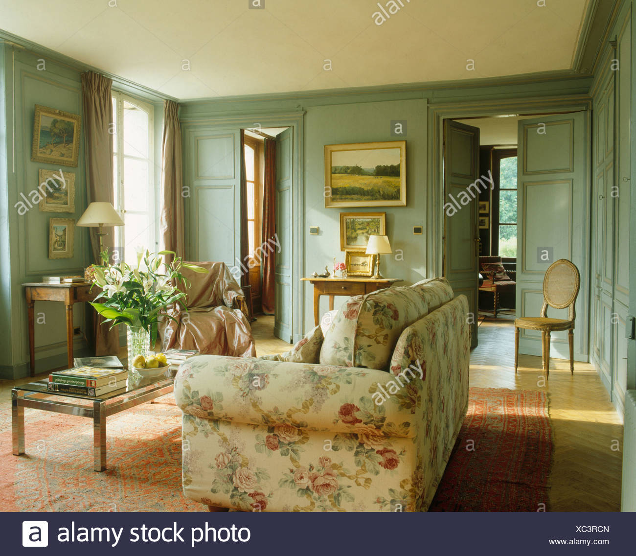 Living Room In French Floral Sofa In French Country Living Room With Gray Green Painted