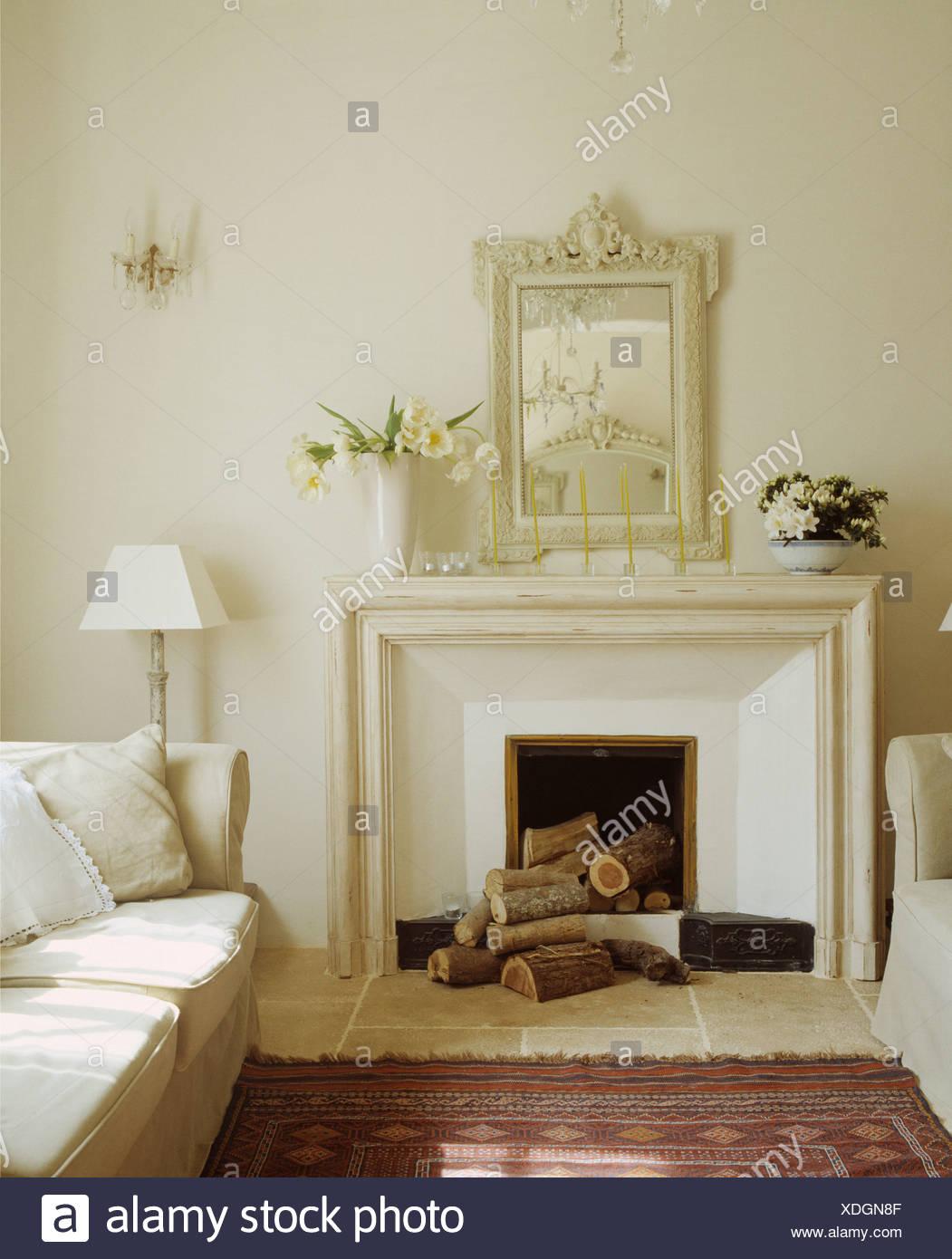 White Mirror Above White Fireplace Stock Photos & White