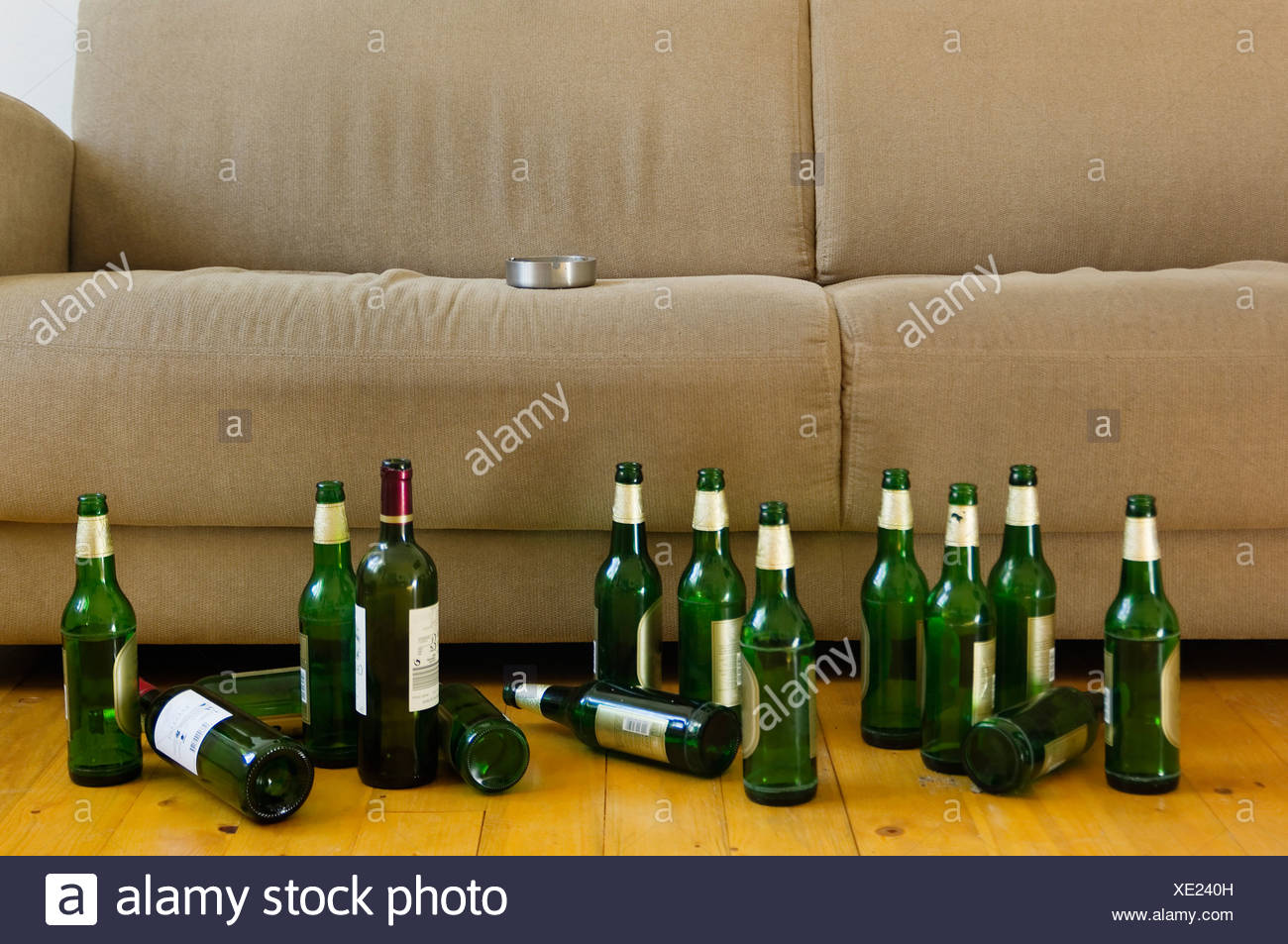 Sofa Frankfurt Germany Hessen Frankfurt Sofa With Empty Beer Bottles Stock