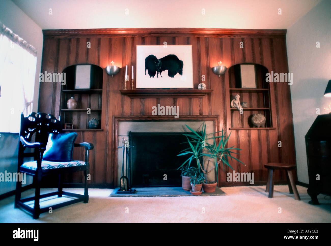 Amerikanisches wohnzimmer holzast deko fenster - Amerikanische deko ...