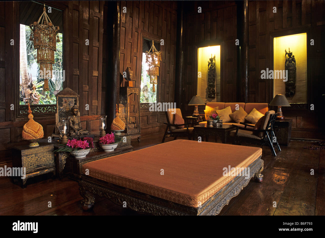 Thai Wohnzimmer Interior Jim Thompson House Bangkok Stockfotos And Interior