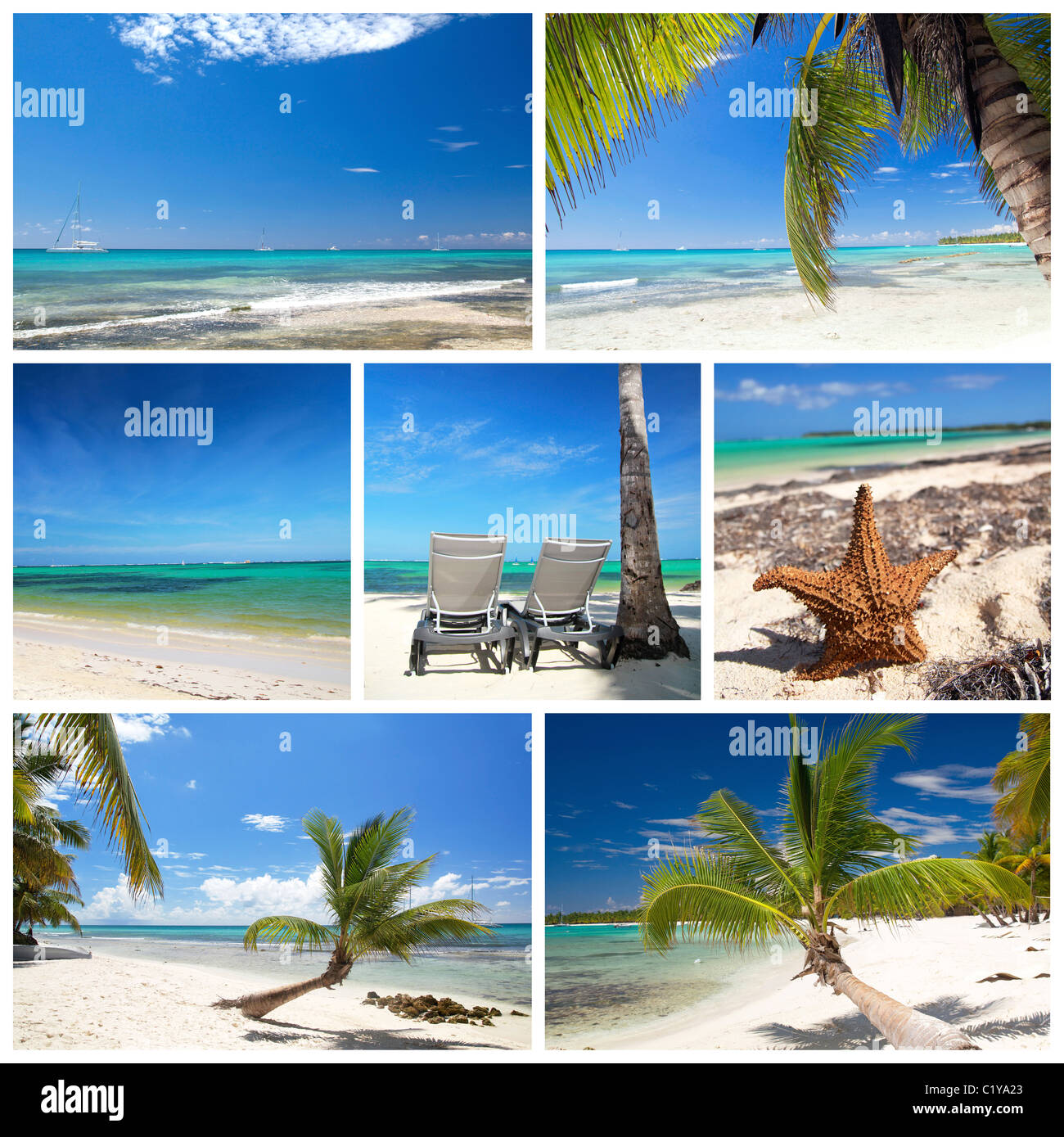 Collage Von Sommer Strand Bilder Strand Und Tropischen Meer Tropical Beach Collage Stockfotos Tropical Beach Collage Bilder