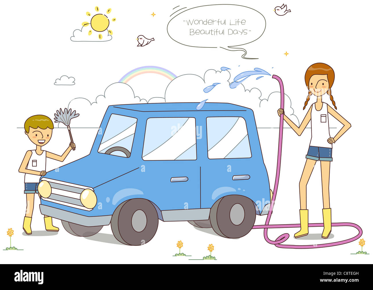 Auto Waschen Spiele Illustration Children Cleaning Car Stockfotos