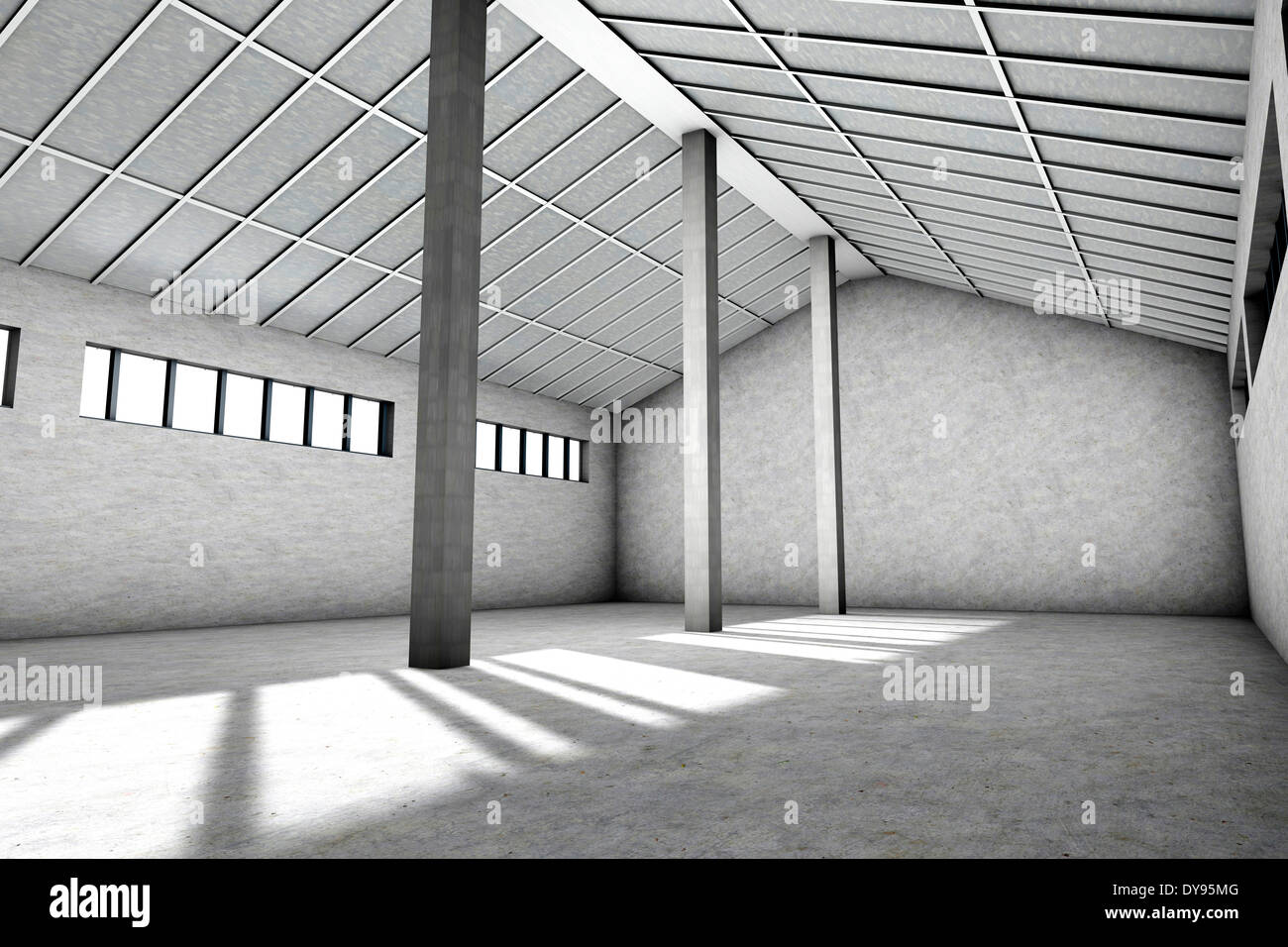 Architektur Rendering Lernen 3d Rendering Interior Empty Factory Stockfotos 3d Rendering