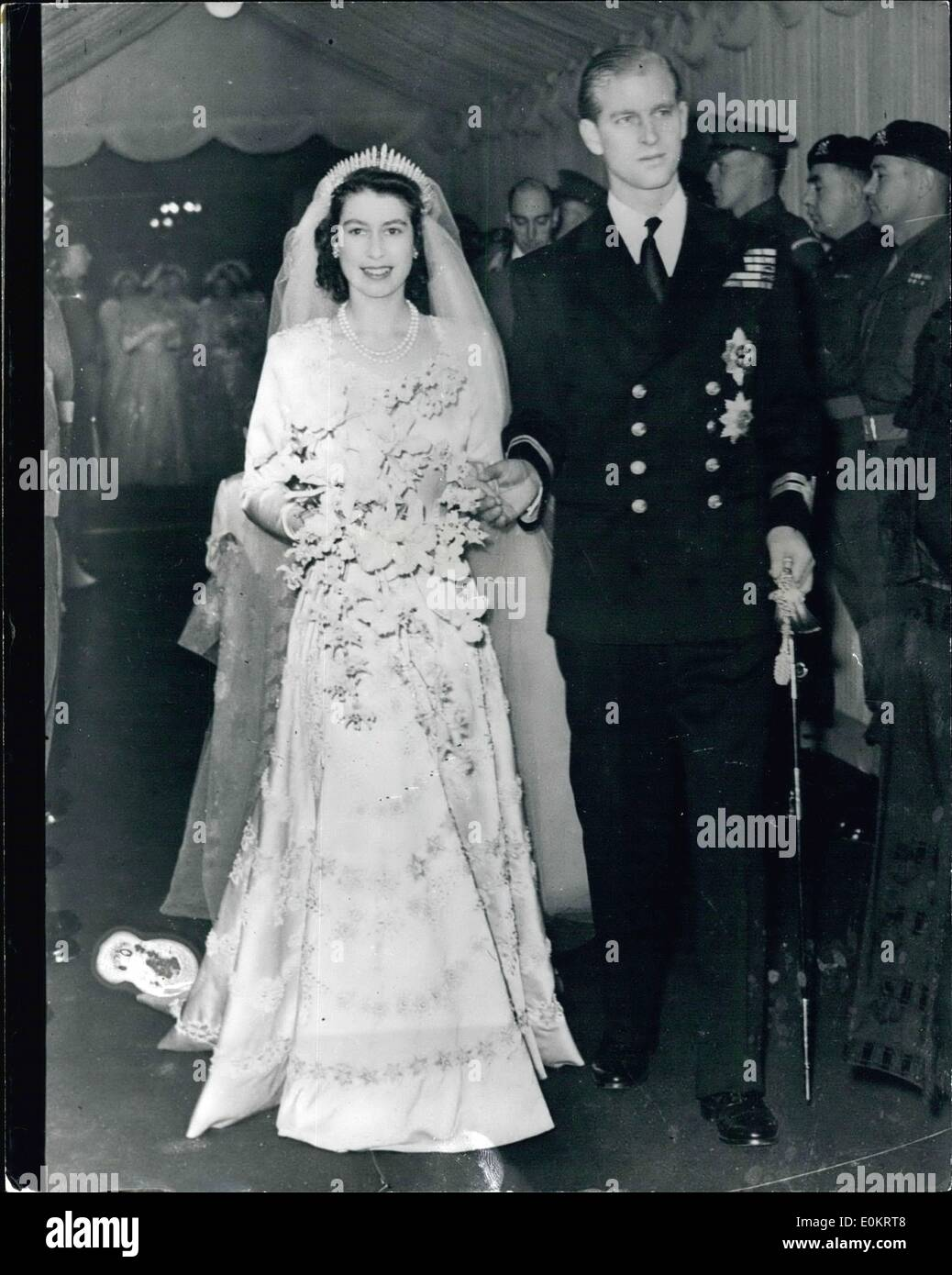 Queen Elizabeth Hochzeit 1947 Queen Elizabeth Wedding Stockfotos 1947 Queen Elizabeth