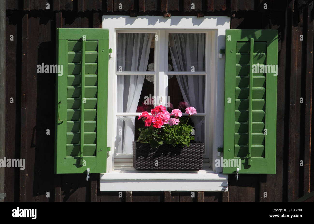 Blumenkasten Hängend Window With Geraniums Stockfotos And Window With Geraniums
