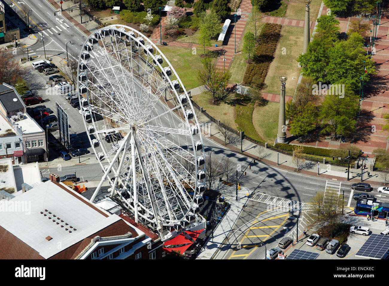 Hektar In M2 Downtown Atlanta Georga Usa Skyline Mit Er Riesenrad Im
