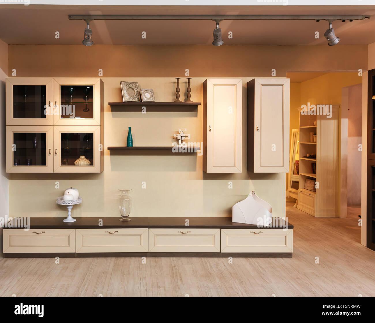 moderne holz mobel interieur vorderansicht stockfoto bild