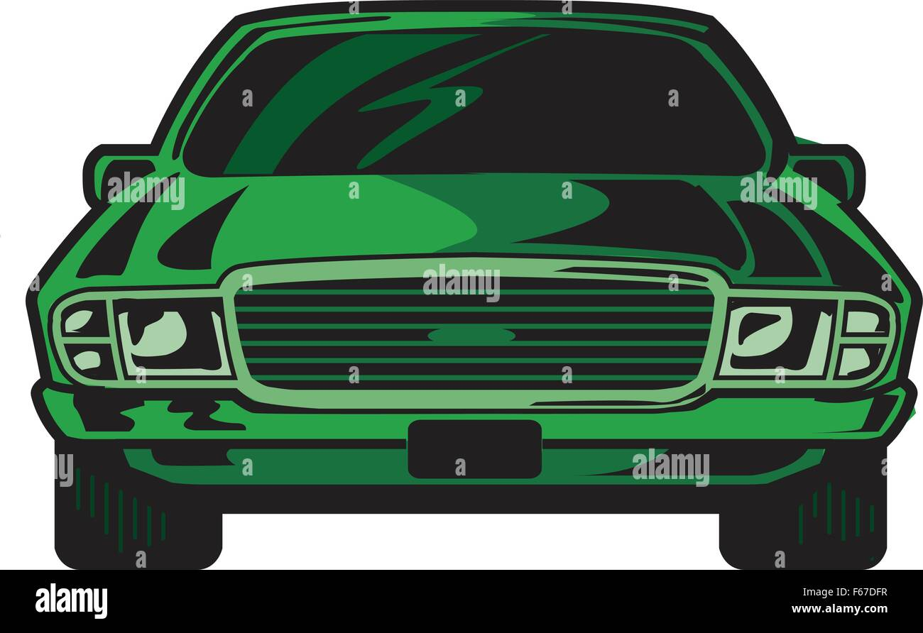 Coole Sportwagen Cartoon Illustration Vorderansicht Der Coole Sportwagen Vektor