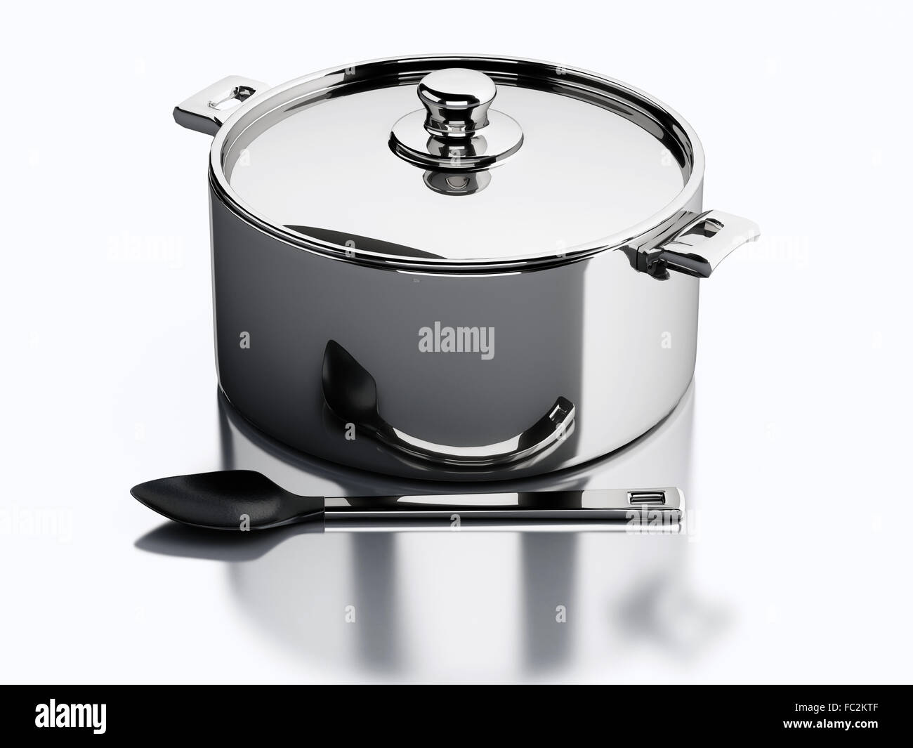 Bilder Küchenutensilien Steel Cooking Pot 3d Render Stockfotos And Steel Cooking Pot