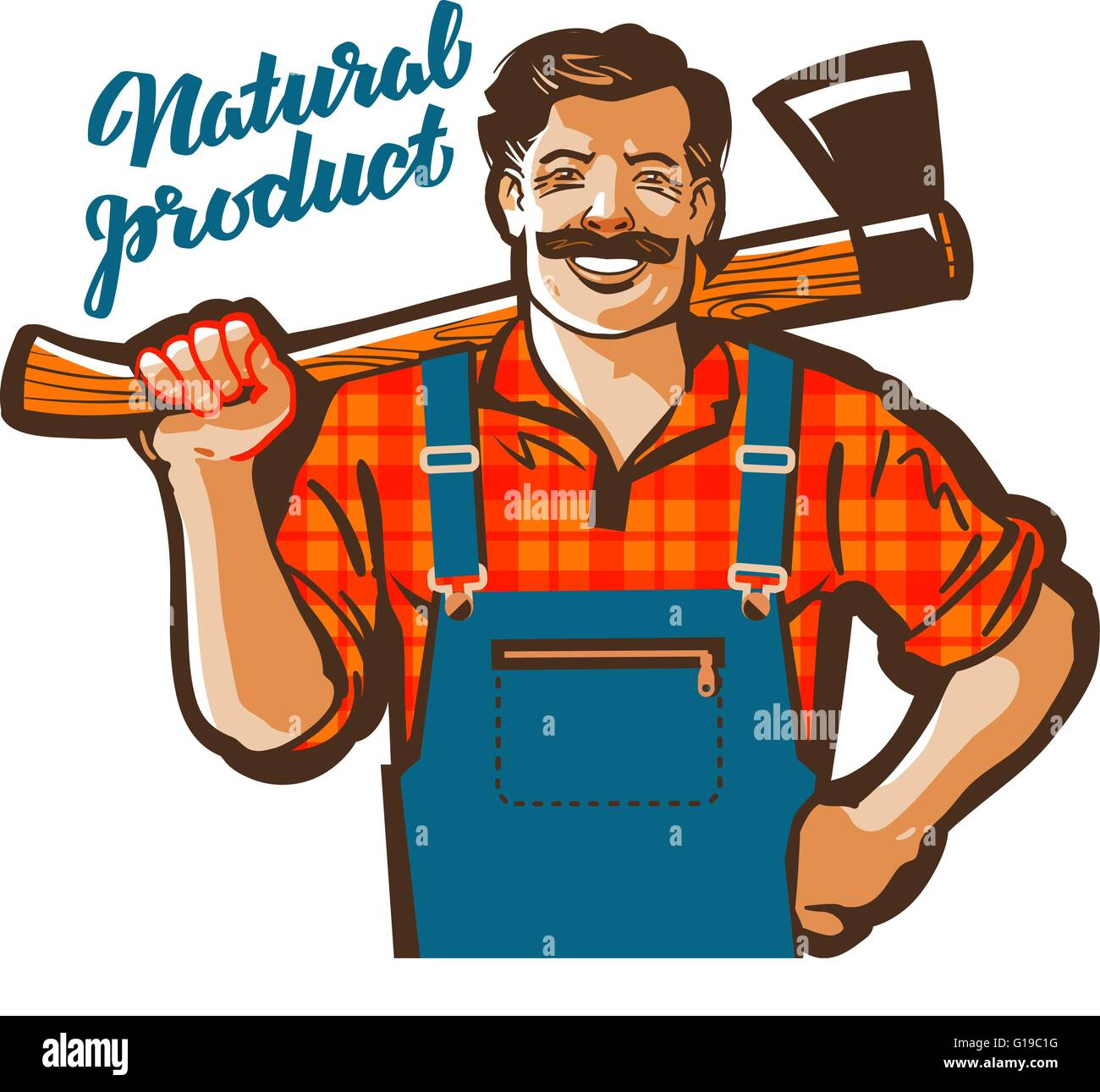 Tischler Comic Carpenter Cartoon Vector Illustration Stockfotos
