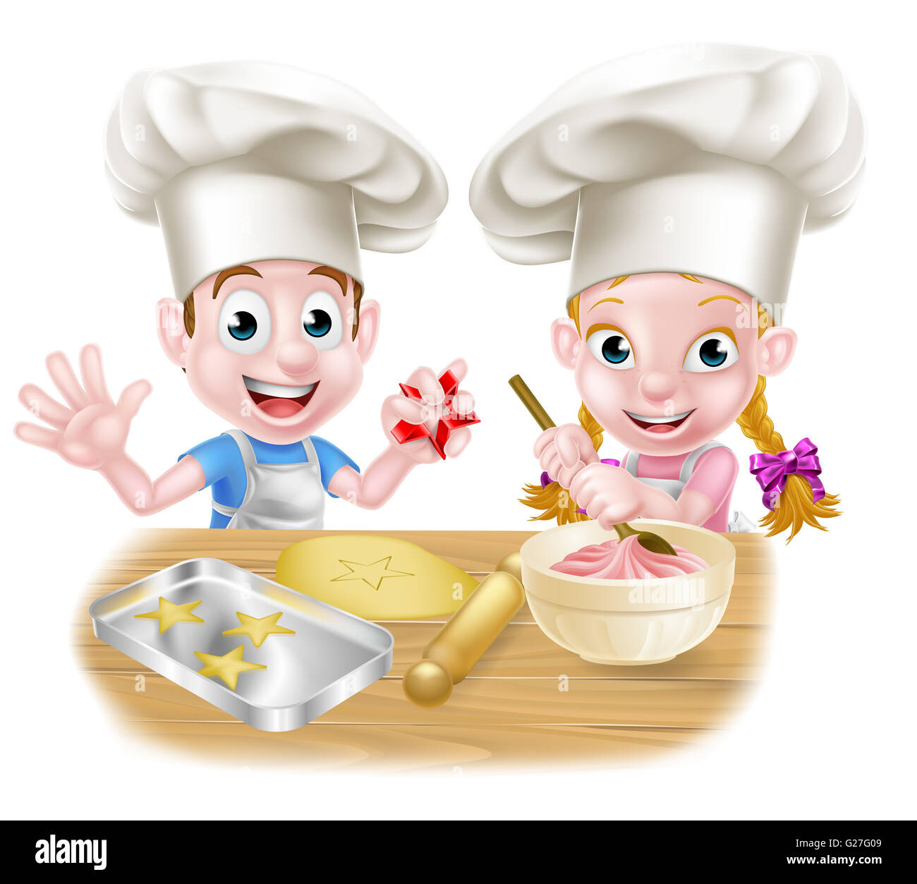 Kinder Kuchen Backen Cartoon Chef Kinder Backen Kuchen Und Kekse Stockfoto