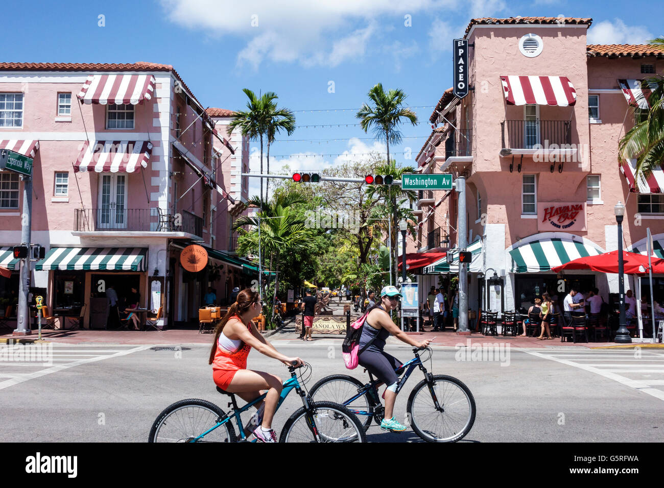 O Miami Miami Florida Beach Washington Avenue Espanola Way Spanisch