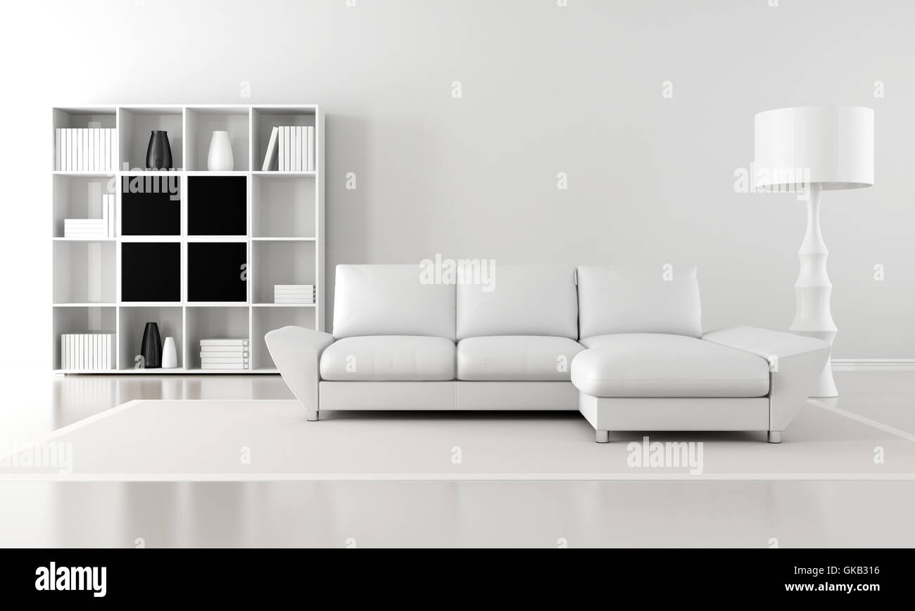 Ecksofa Minimalistisch Minimalist Lounge Sofa Modern Bookcase Wall Living Room Stockfotos