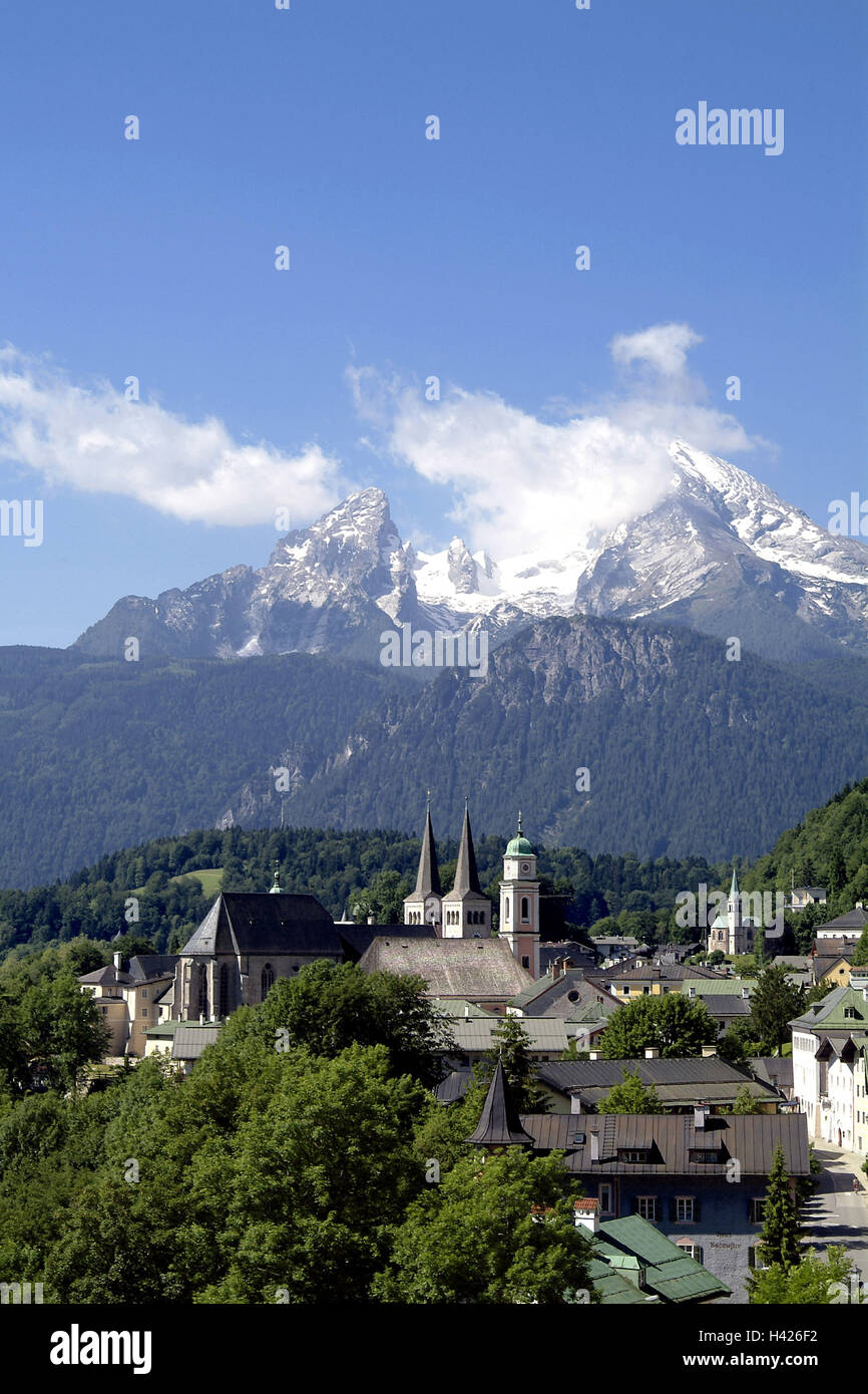 Berchtesgadener Esszimmer Berchtesgaden Deutschland Germany Berchtesgadener Land View Church Stockfotos Germany