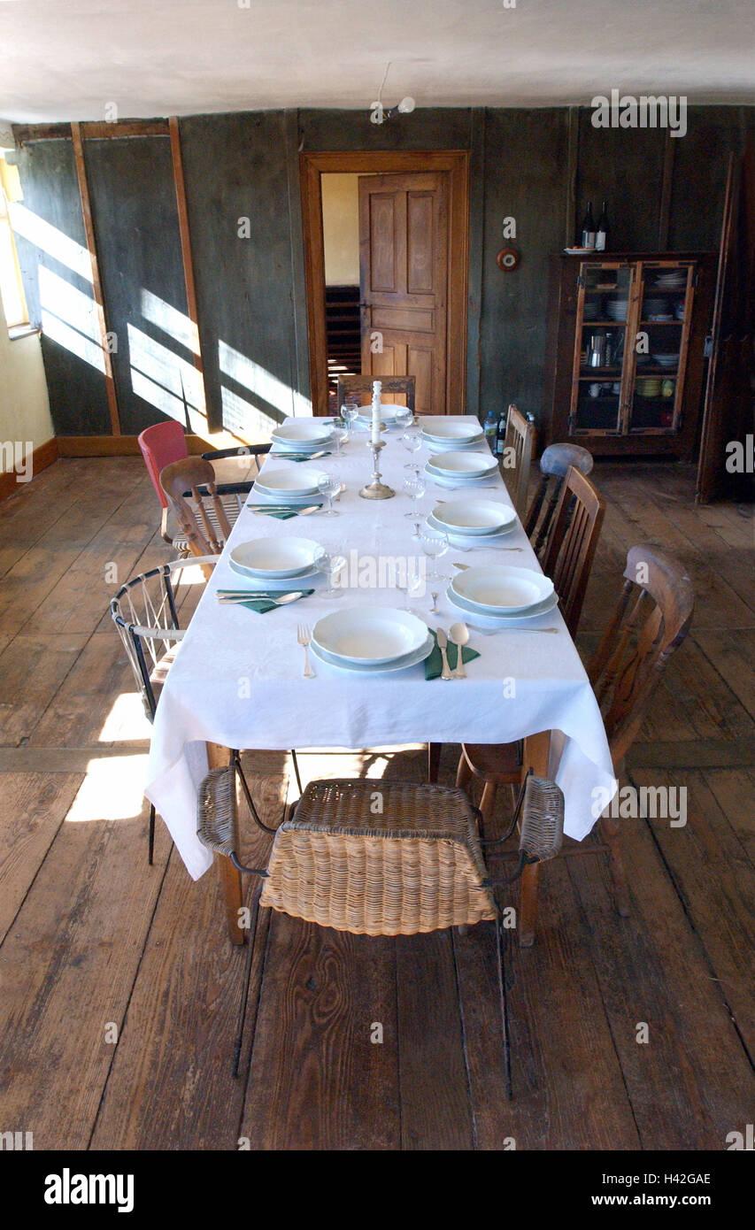 esszimmer tisch bedeckt flach alte alte gebaude wohnraum