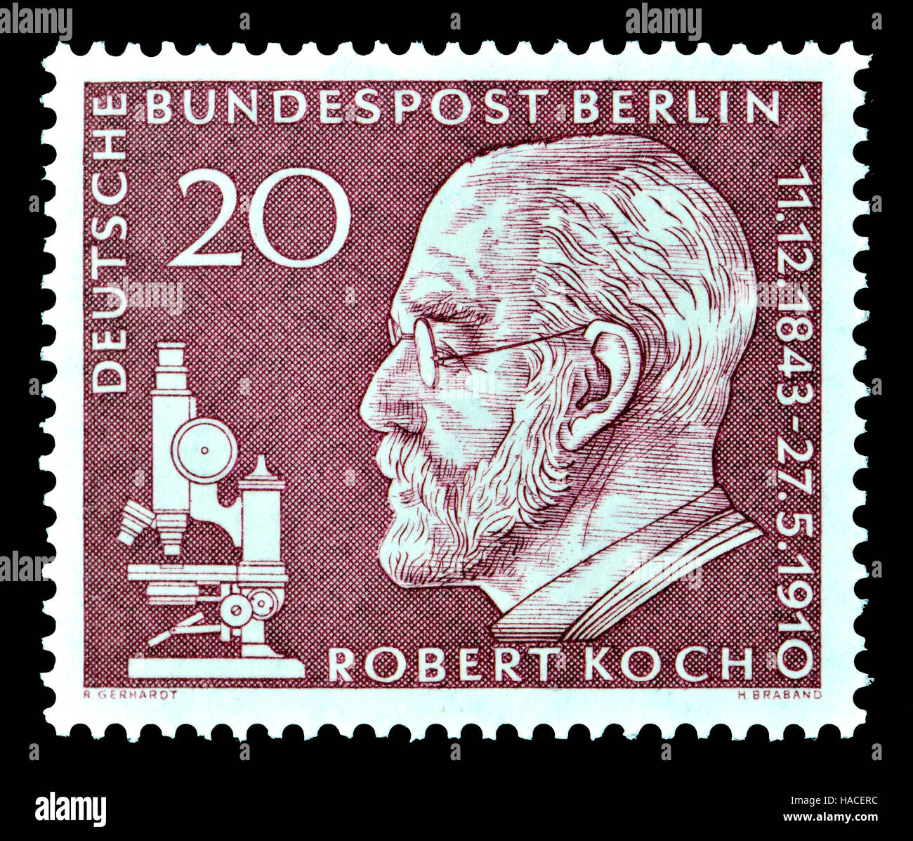 Hermann Koch Deutsch Berlin Briefmarke 1960 Robert Heinrich Hermann Koch