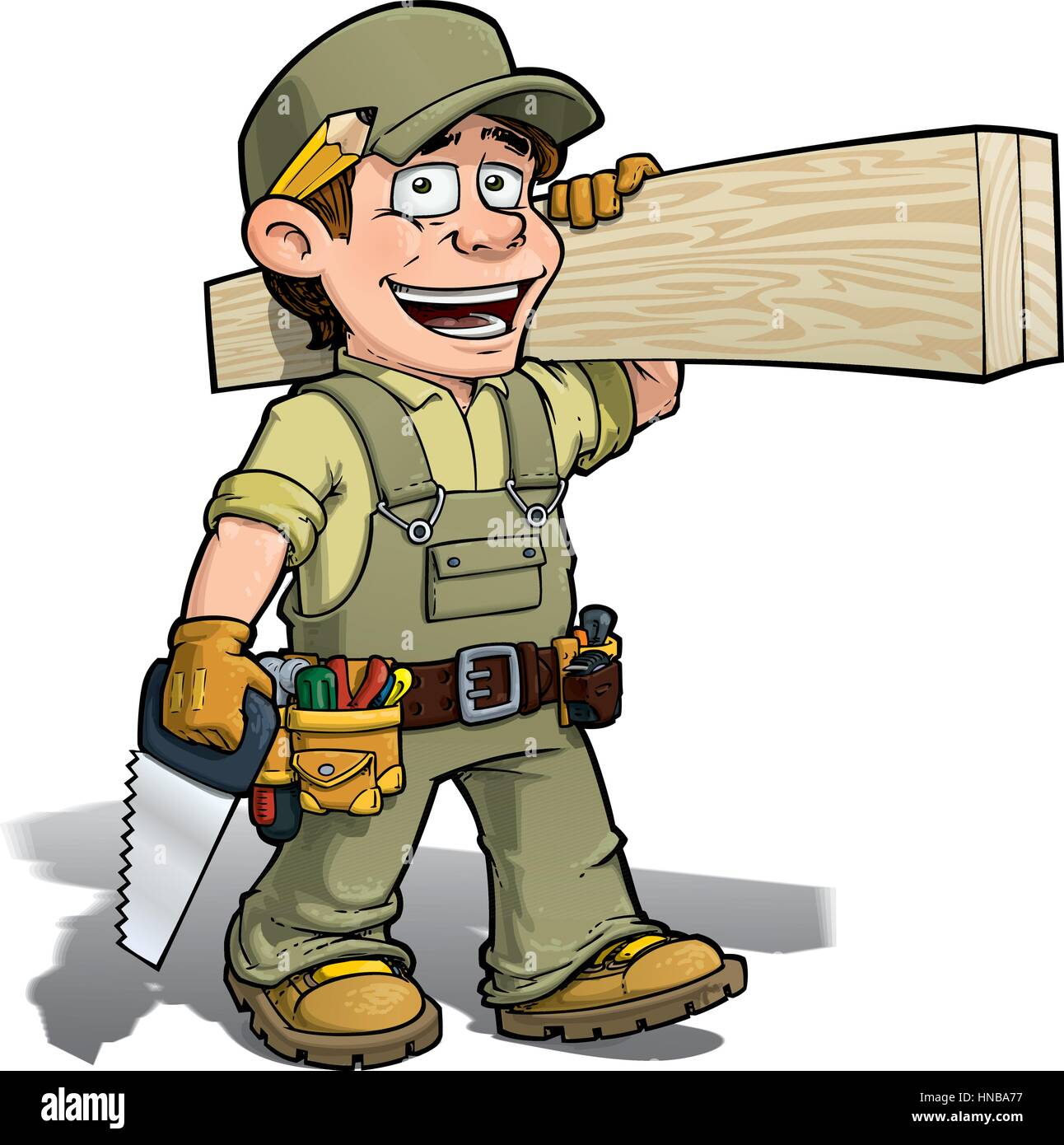 Tischler Comic Carpenter Carrying Saw Stockfotos And Carpenter Carrying Saw