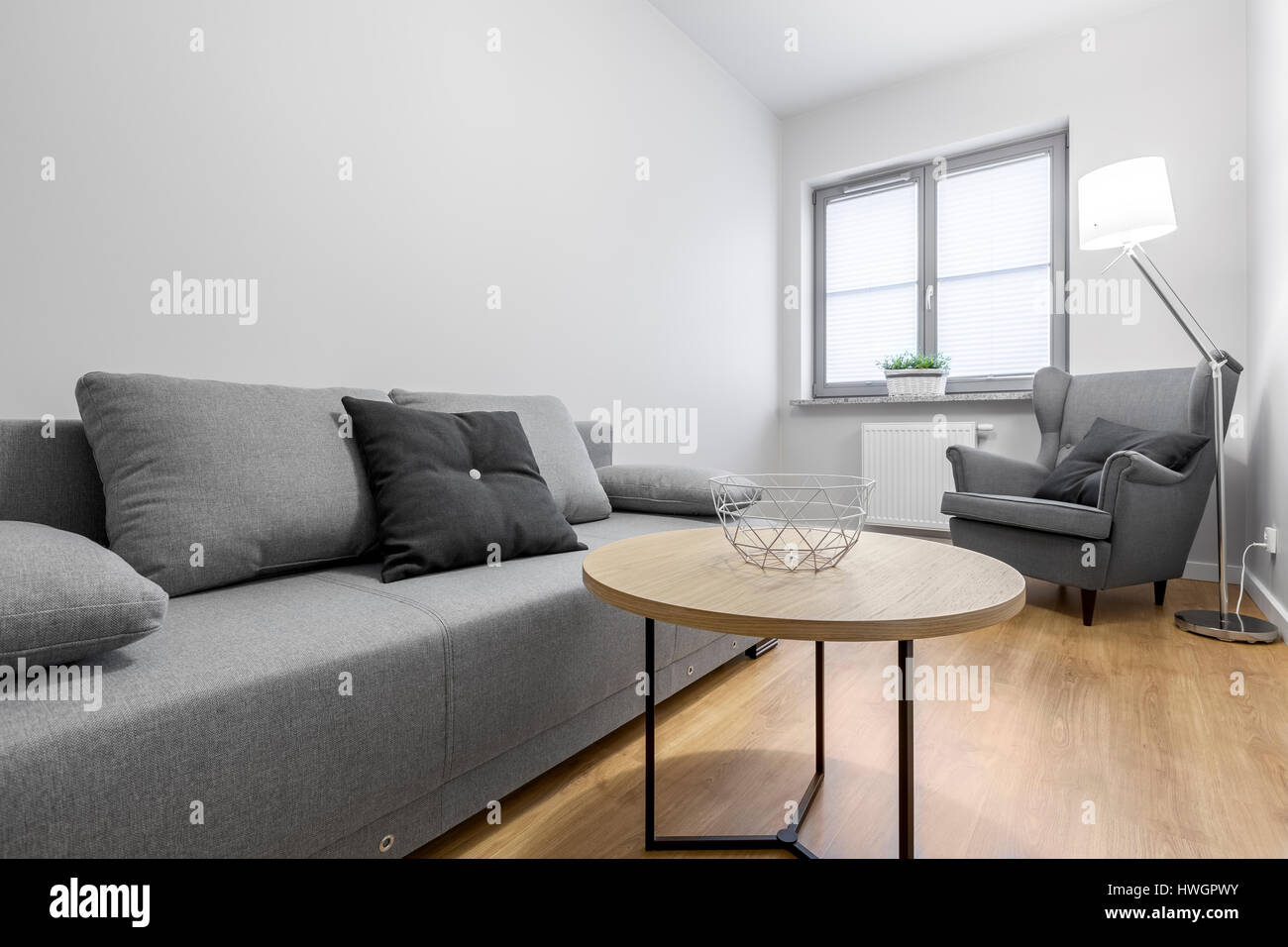 Kleines Wohnzimmer Contemporary Lounge Gray Sofa Wall Stockfotos