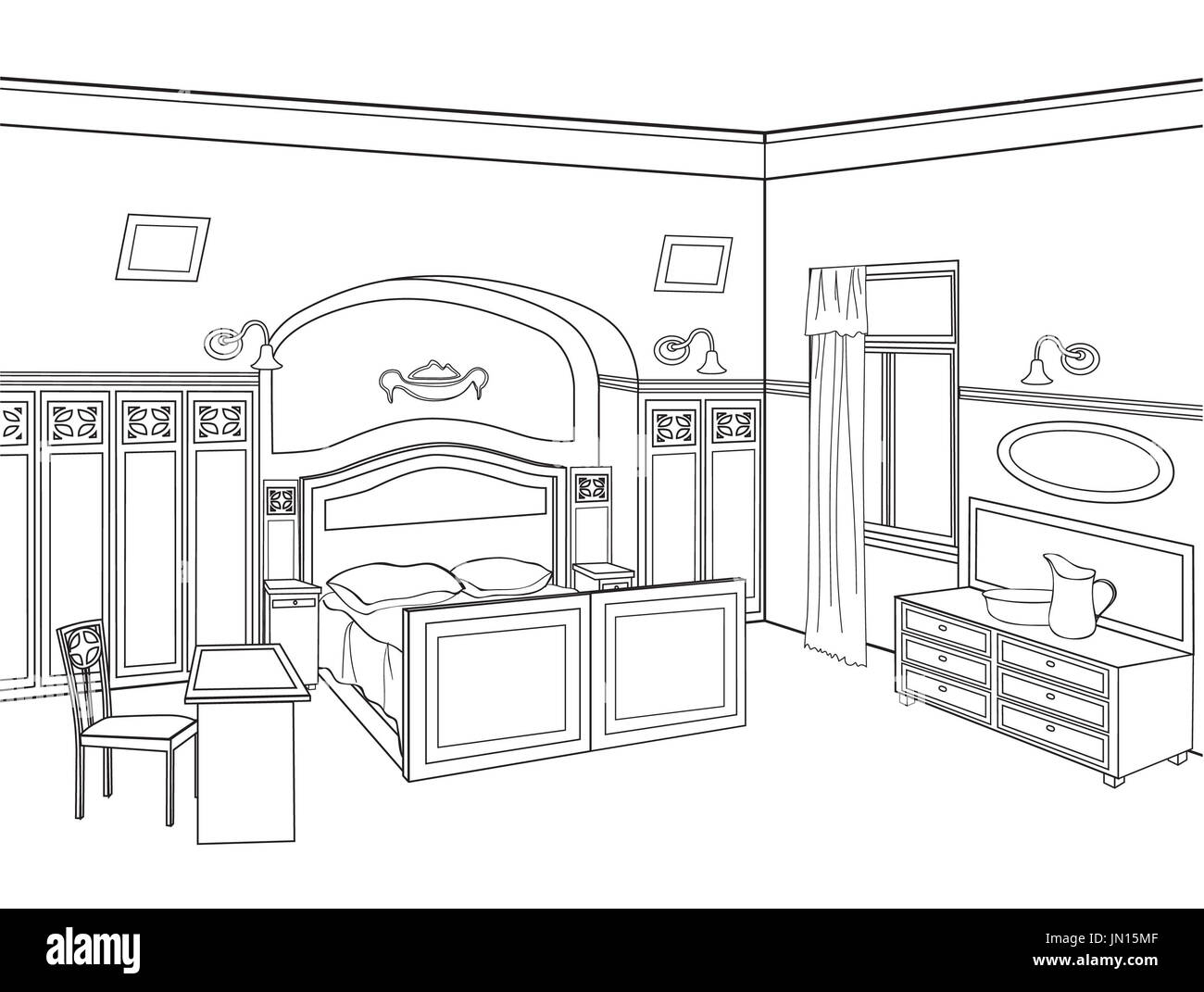 Architectural Hand Drawing Living Room Stockfotos Und