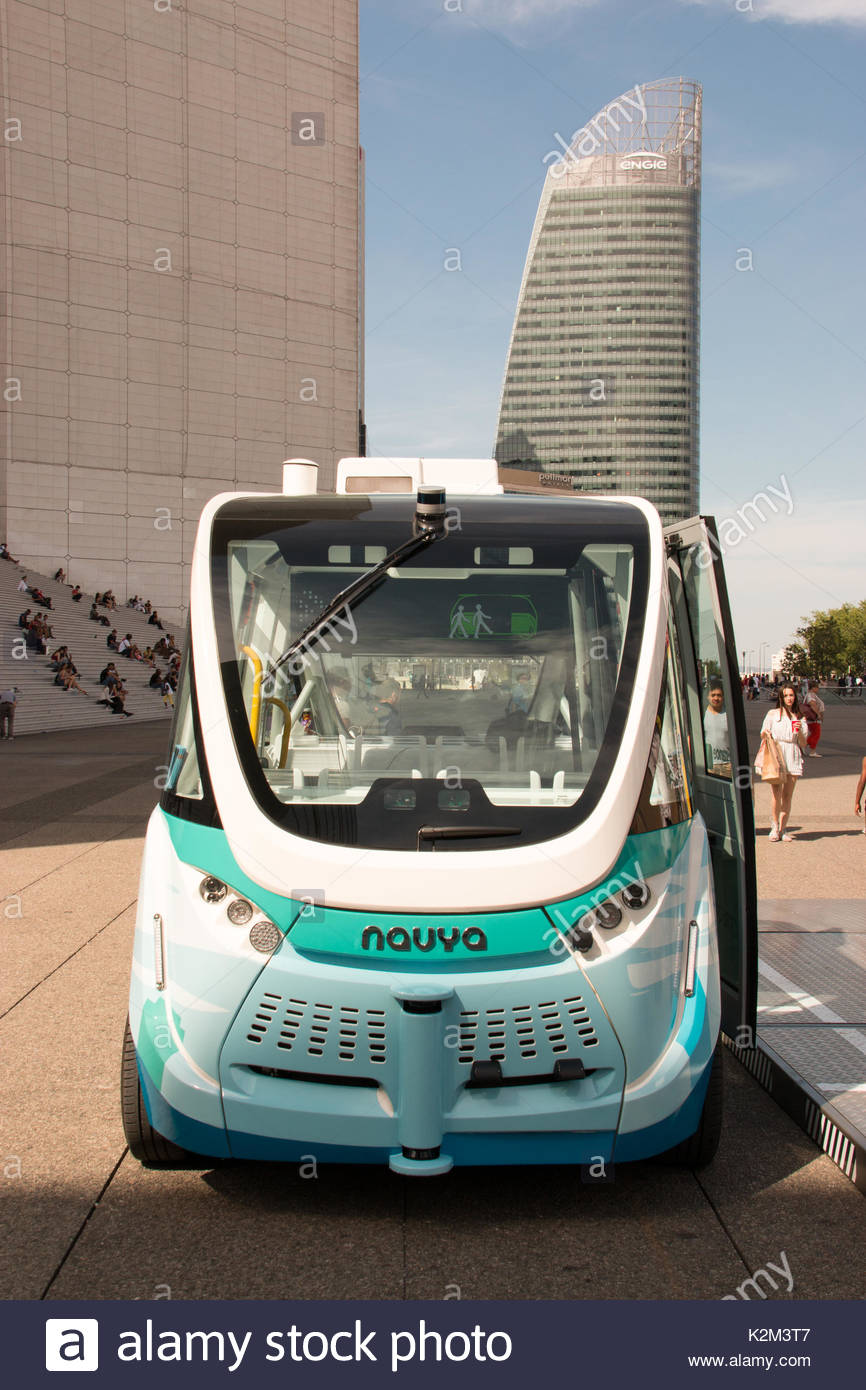 Paris Bayonne Bus Driverless Electric Bus Stockfotos Driverless Electric Bus