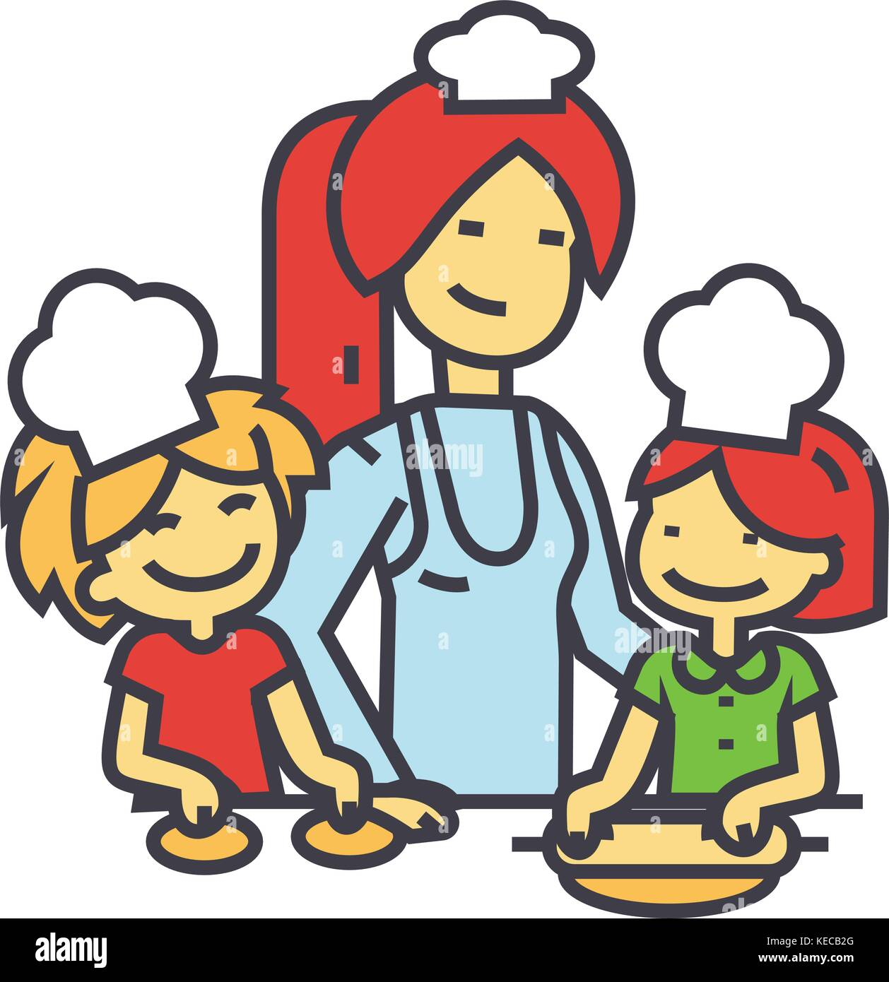 Cartoon Küche Aufräumen Vector Illustration Happy Kids Helping Stockfotos Vector