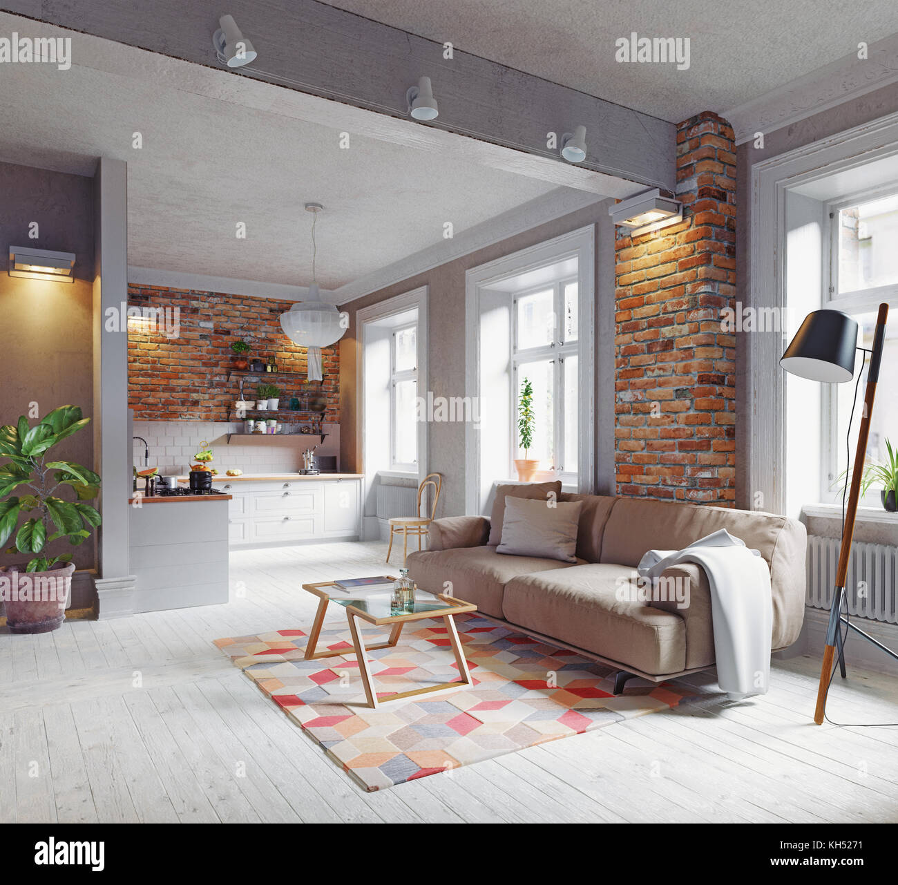 Skandinavisches Design Modernes Apartment Interieur Skandinavisches Design 3d Rendering