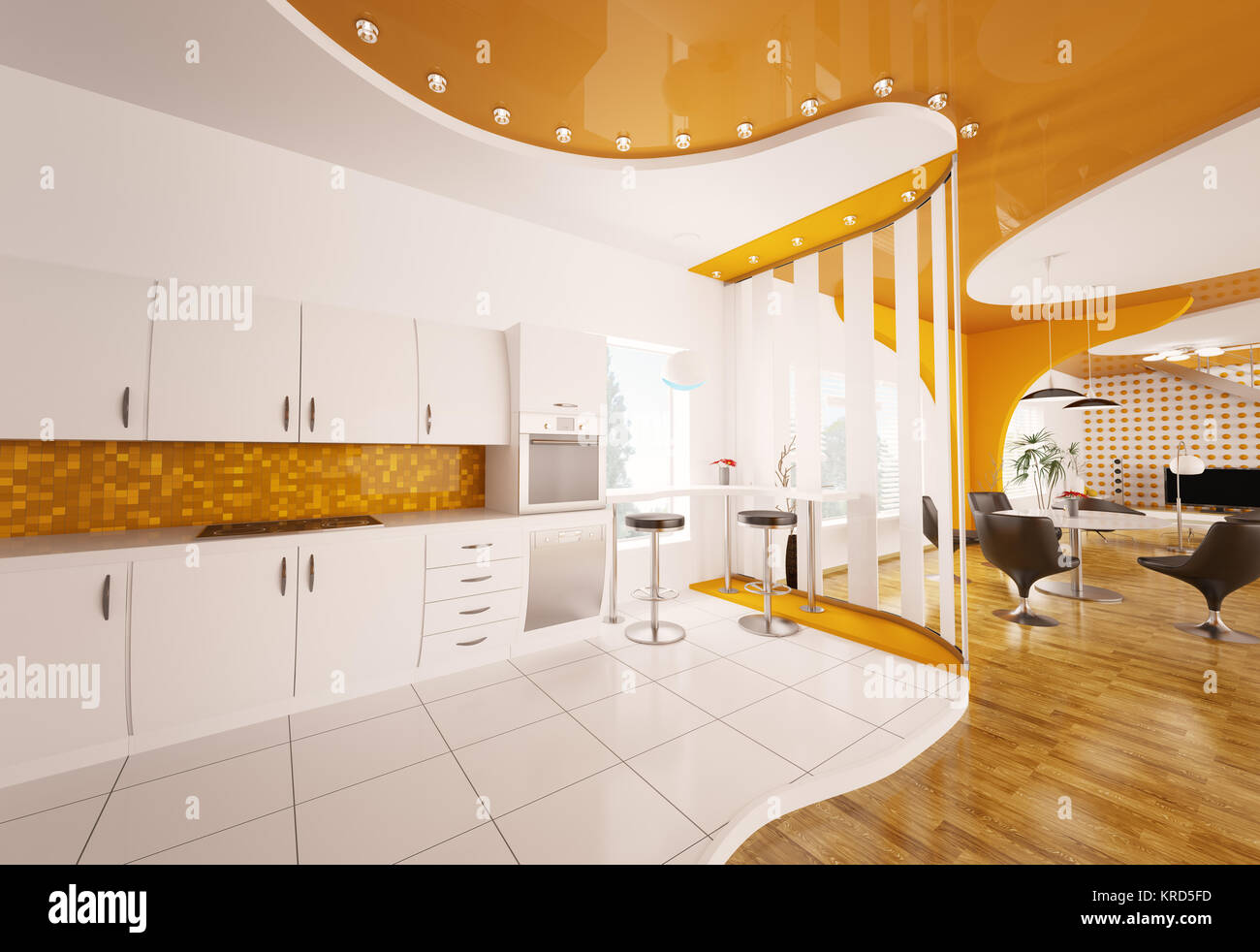 Küche Weiss Orange Interior Design Der Küche Weiß Orange 3d Render Stockfoto Bild