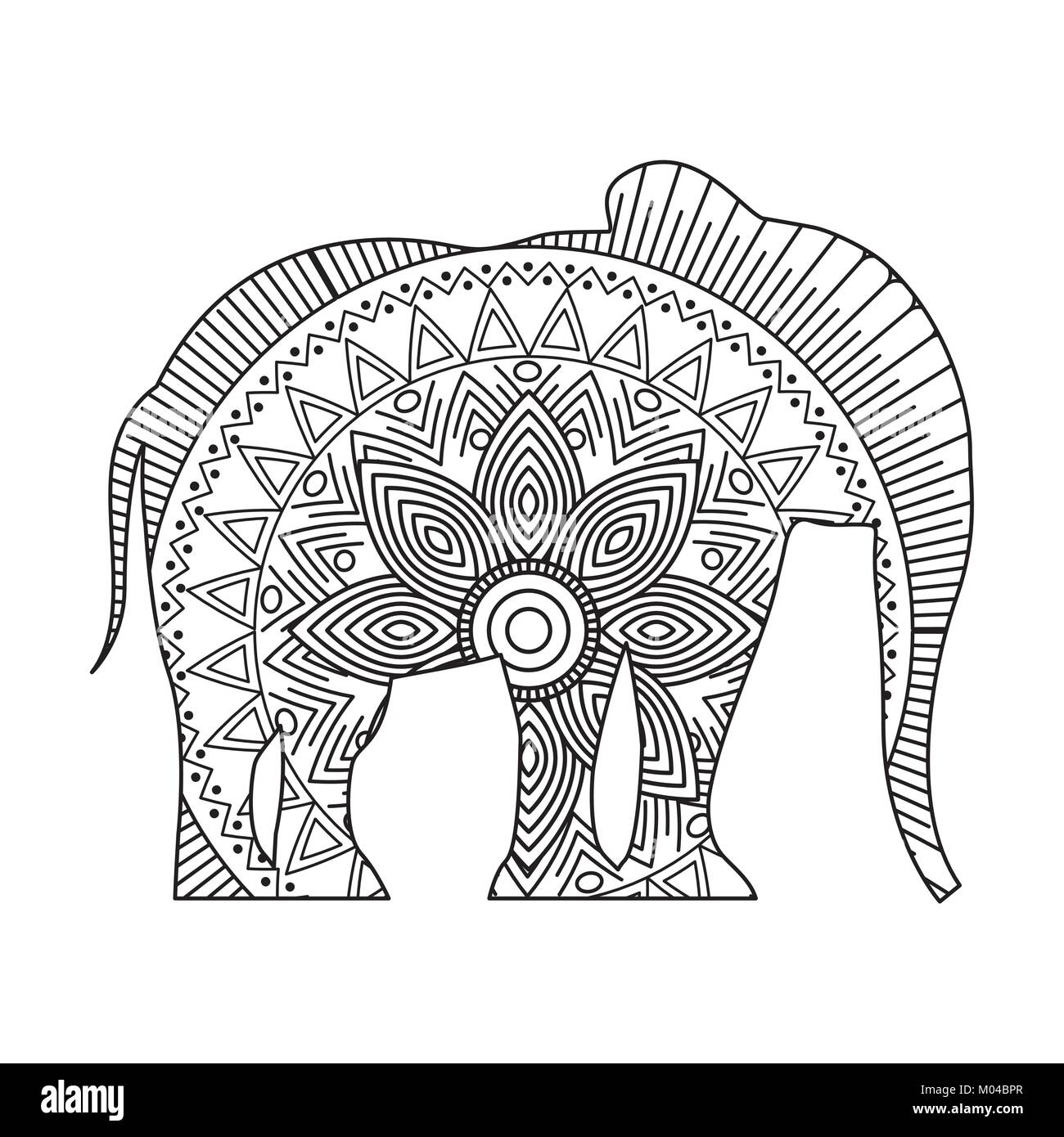 Zentangle Elefant Vorlage Vector Illustration Coloring Page African Stockfotos