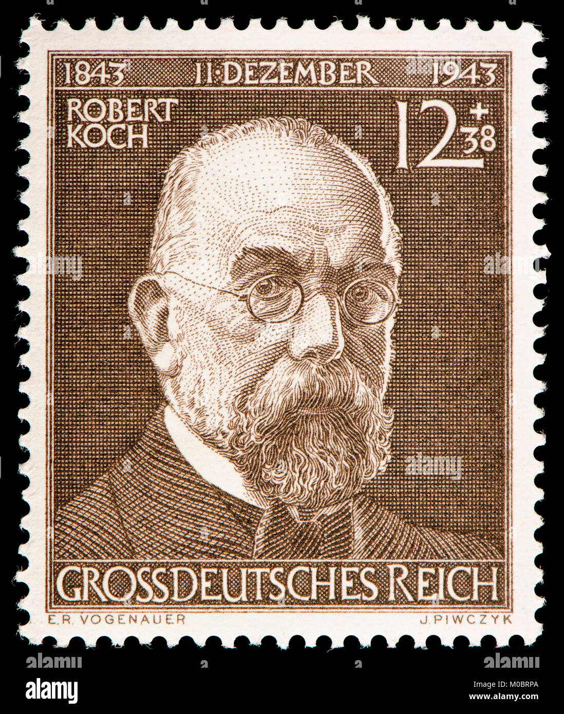 Hermann Koch Deutsche Briefmarke 1944 Robert Heinrich Hermann Koch 1843