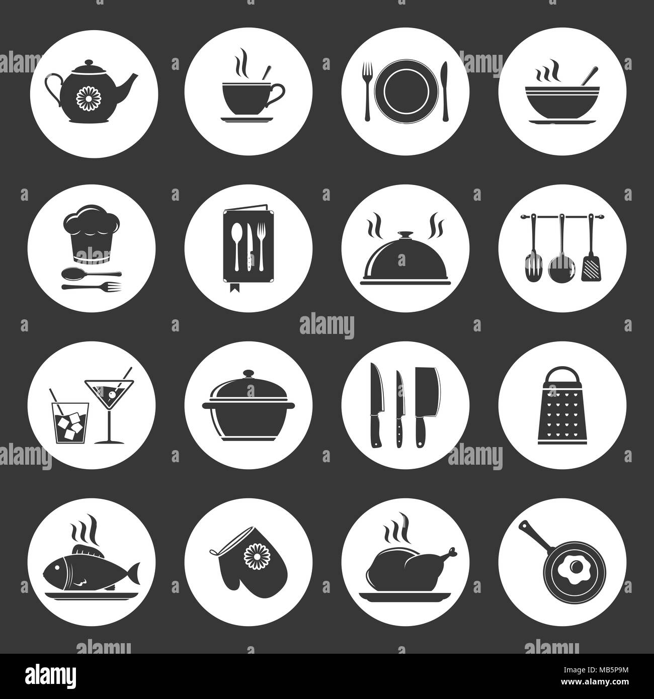 Kochen Küche Icon Set Stock Vektorgrafik Alamy
