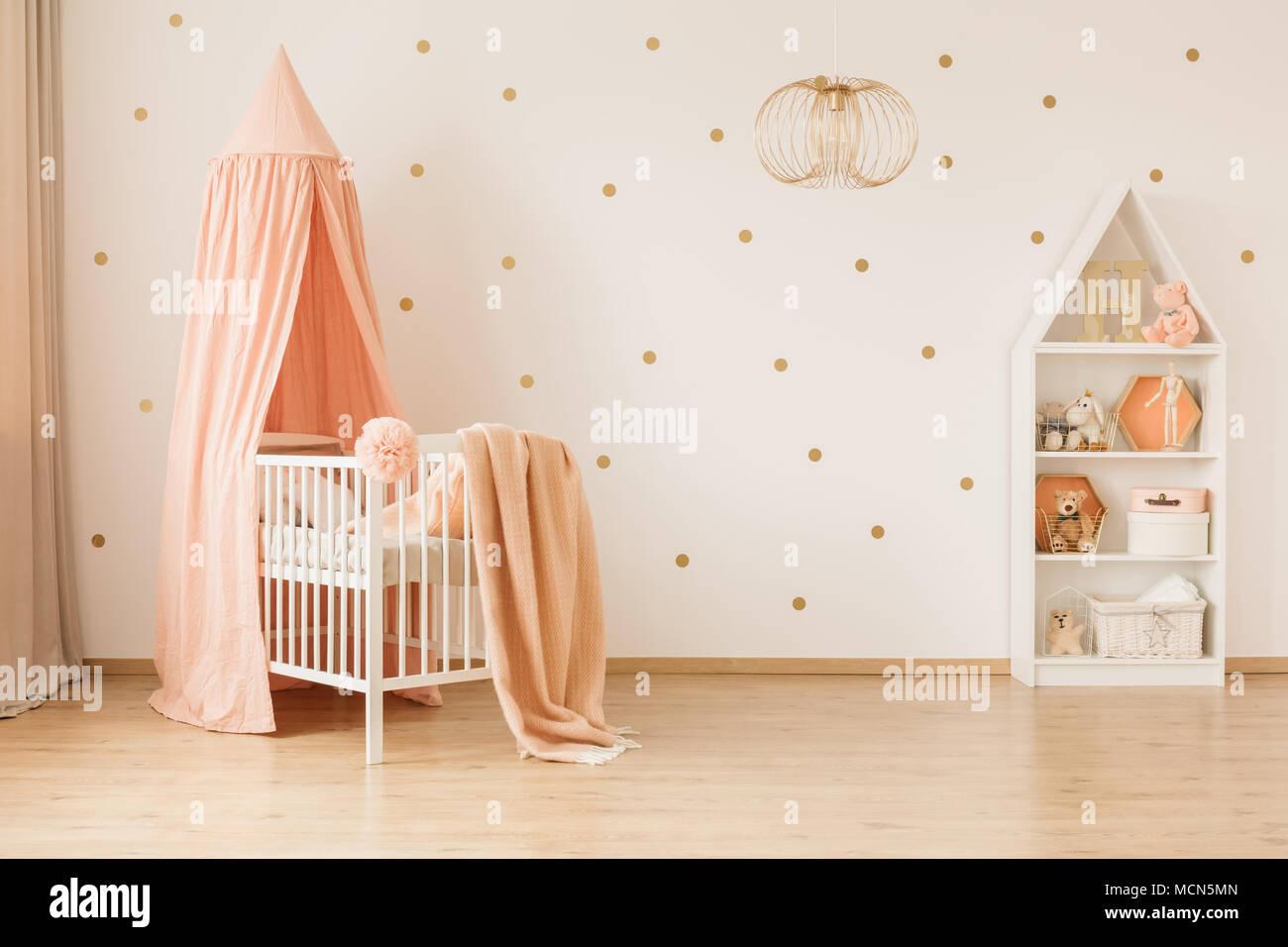 Babybett Gold | Weißes Kinderbett