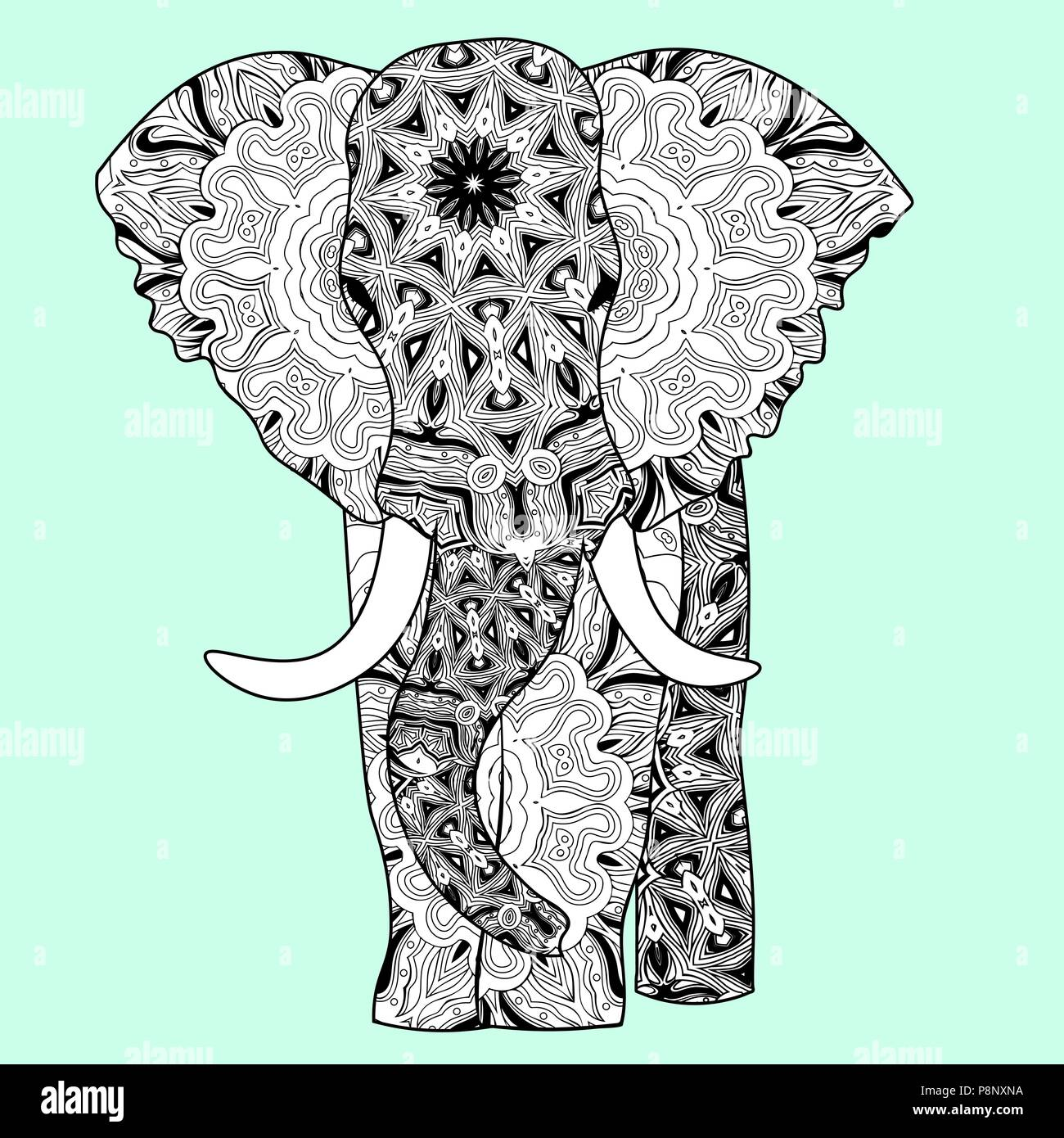 Zentangle Elefant Vorlage Cartoon Elephant Animal Outline Stockfotos Cartoon
