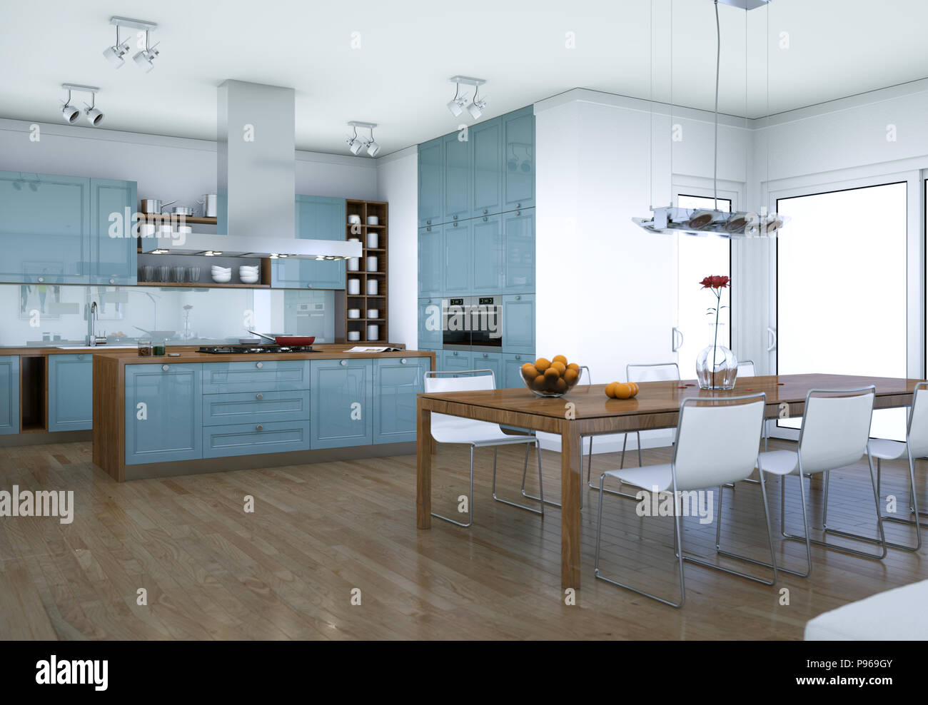Küche Blau Blau Moderne Küche Interior Design Illustration Stockfoto Bild