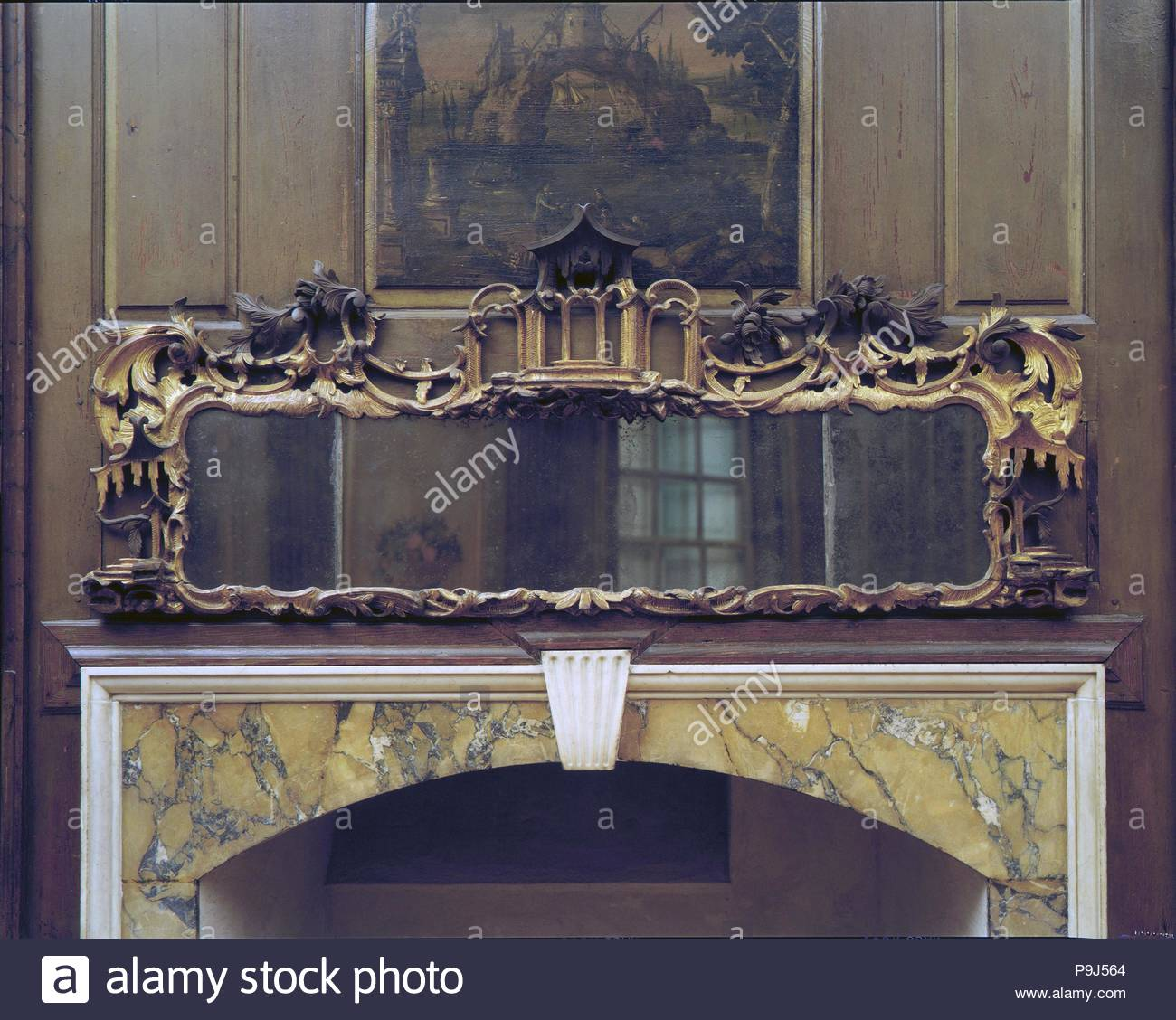 Pavillon Ranke Looking Glass 1750 75 In England Kiefernholz Vergoldeten Putz