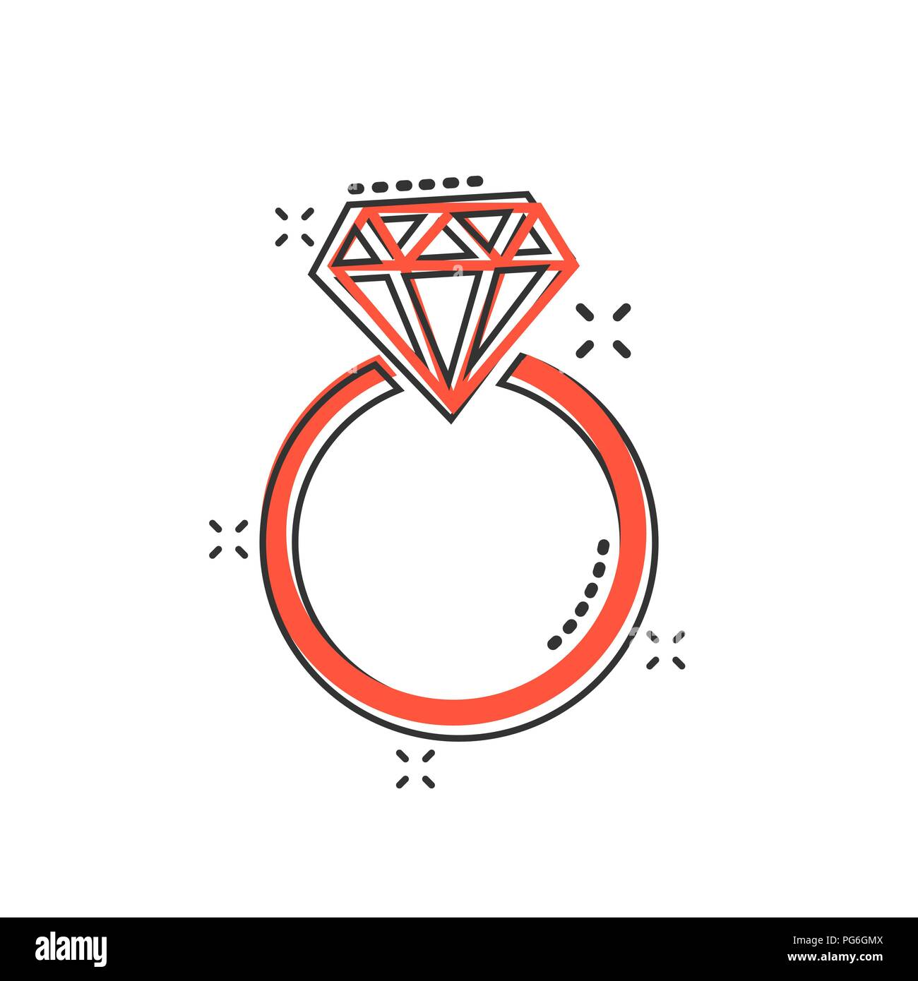 Hochzeit Comic Vektor Cartoon Engagement Ring Mit Diamant Symbol Im Comic Stil
