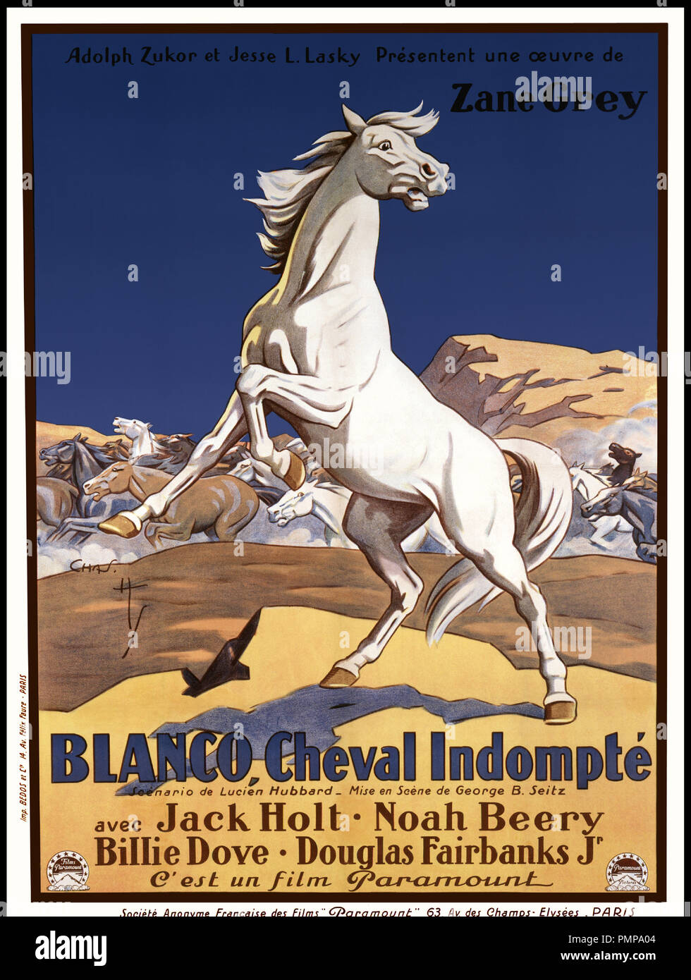 Affiche Cheval Prod Db  Paramount Dr Blanco Cheval Indompte Wild Horse Mesa