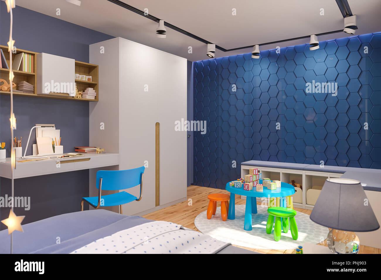 3d Render Von Schlafzimmer Für Die Kinder In Tiefem Blau