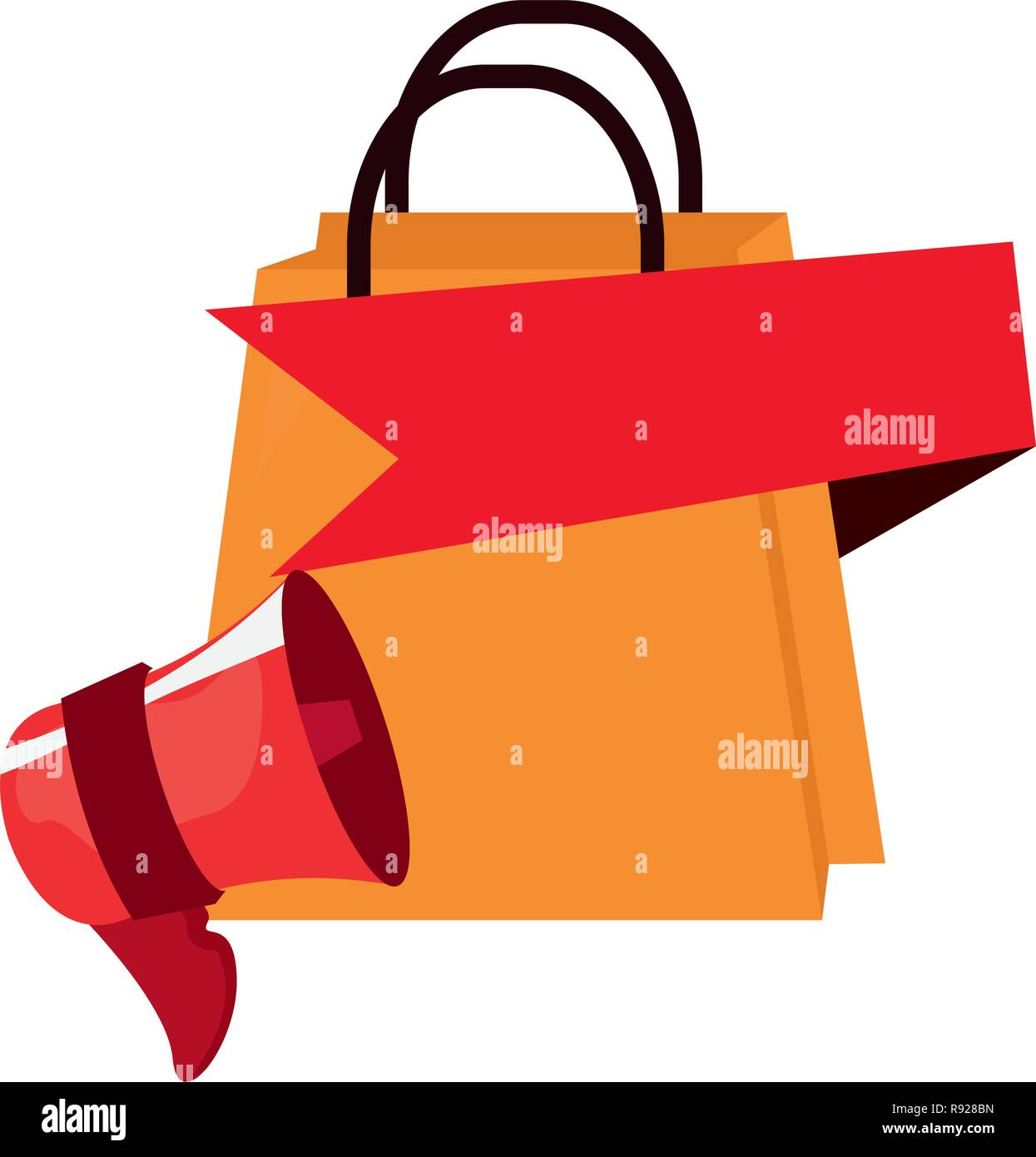 Lautsprecher Online Lautsprecher Online Shopping Bag Banner Vector Illustration Vektor