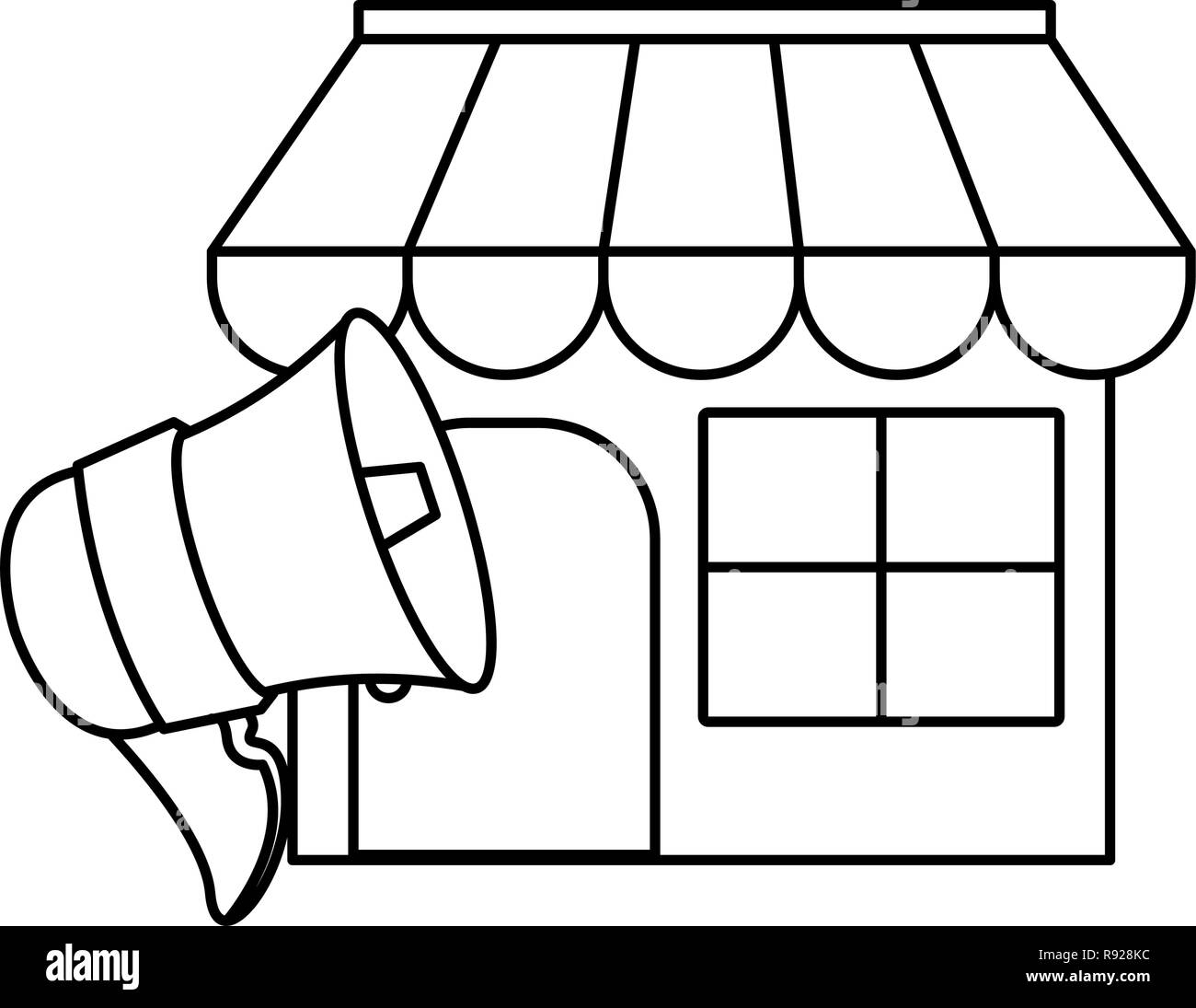 Lautsprecher Online Lautsprecher Online Shopping Markt Digital Vector Illustration