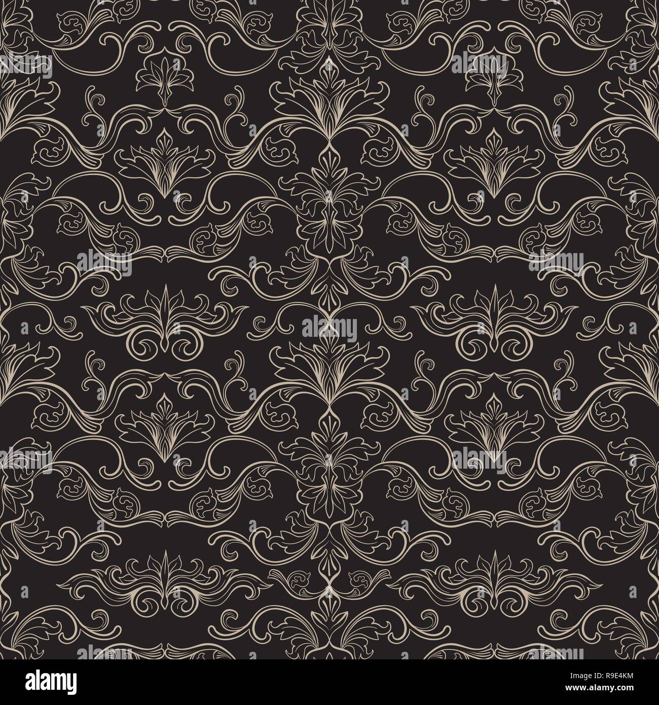Tapete Papier Damast Vektor Nahtlose Muster Vintage Style Tapete Teppich