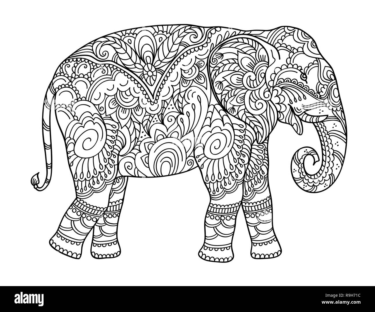 Zentangle Elefant Vorlage Elephant Ornament Vector Stockfotos Elephant Ornament
