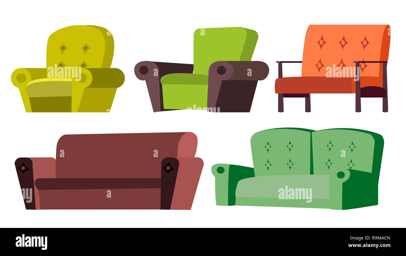 Sessel Sultan Sofa Sessel Set Vektor Home Möbel Wohnzimmer Isolierte Cartoon