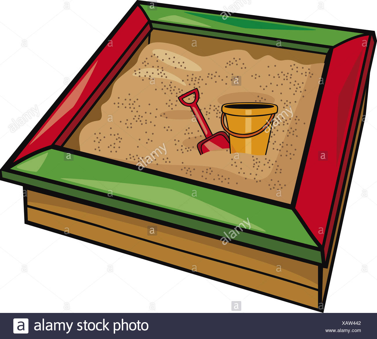 Spielzeug Sandkasten Illustration Shovel Toys Sandbox Cartoon Stockfotos