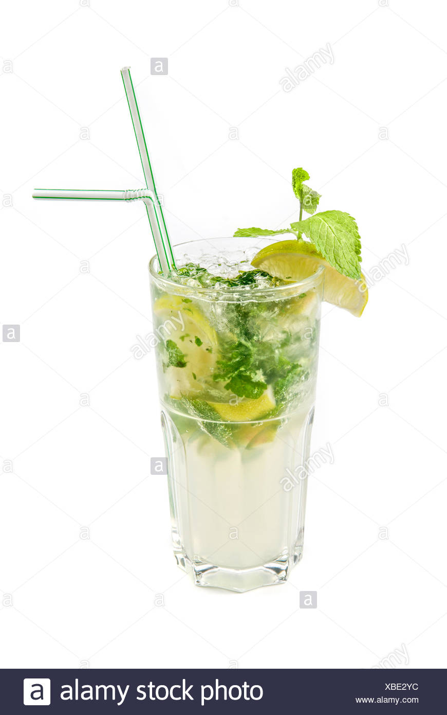 Mojito Glas Classic Long Drink Mojito Isolated Stockfotos Classic Long Drink